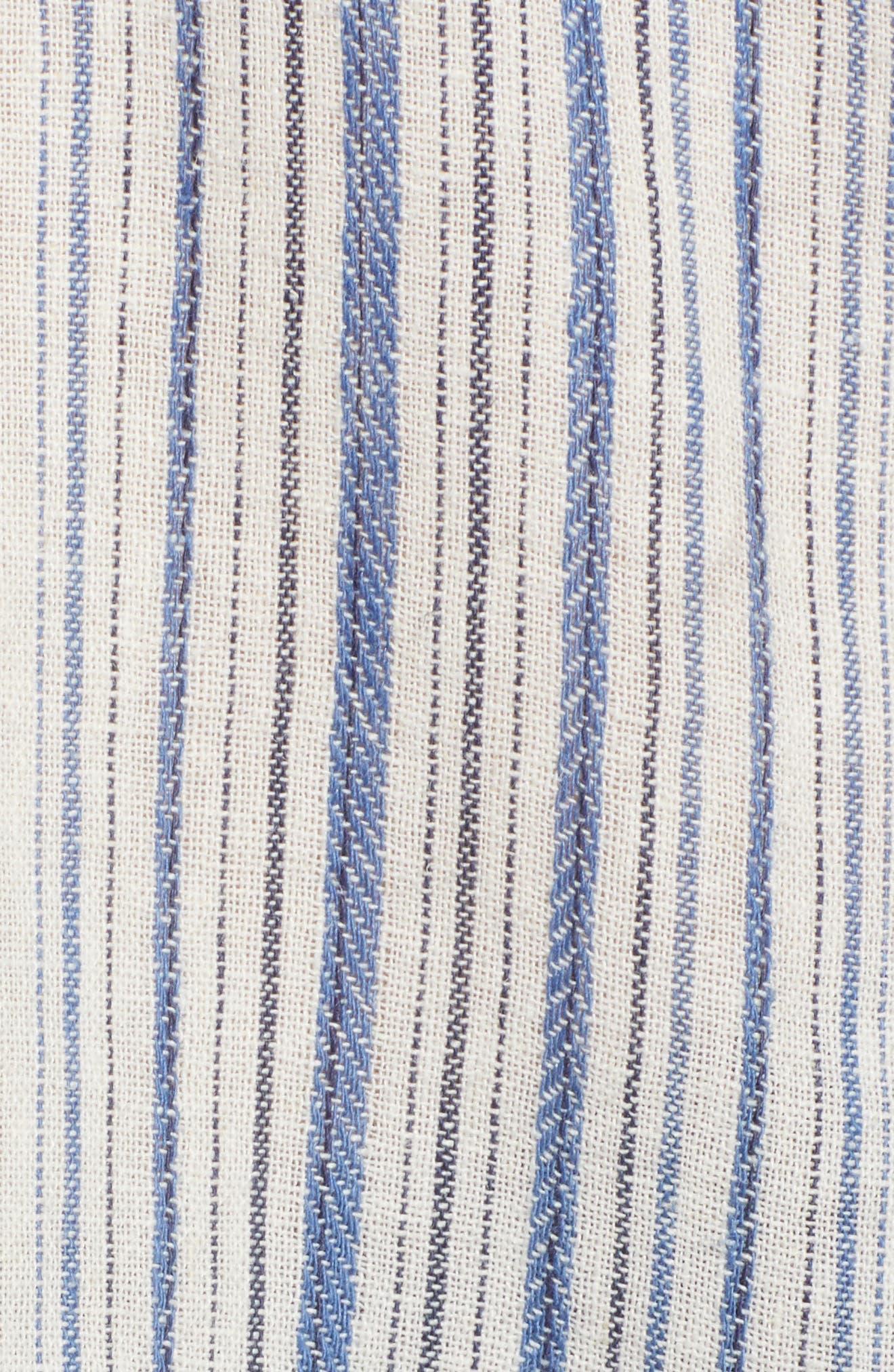Off the Shoulder Stripe Ruffle Linen Blend Top,                             Alternate thumbnail 6, color,                             Blue