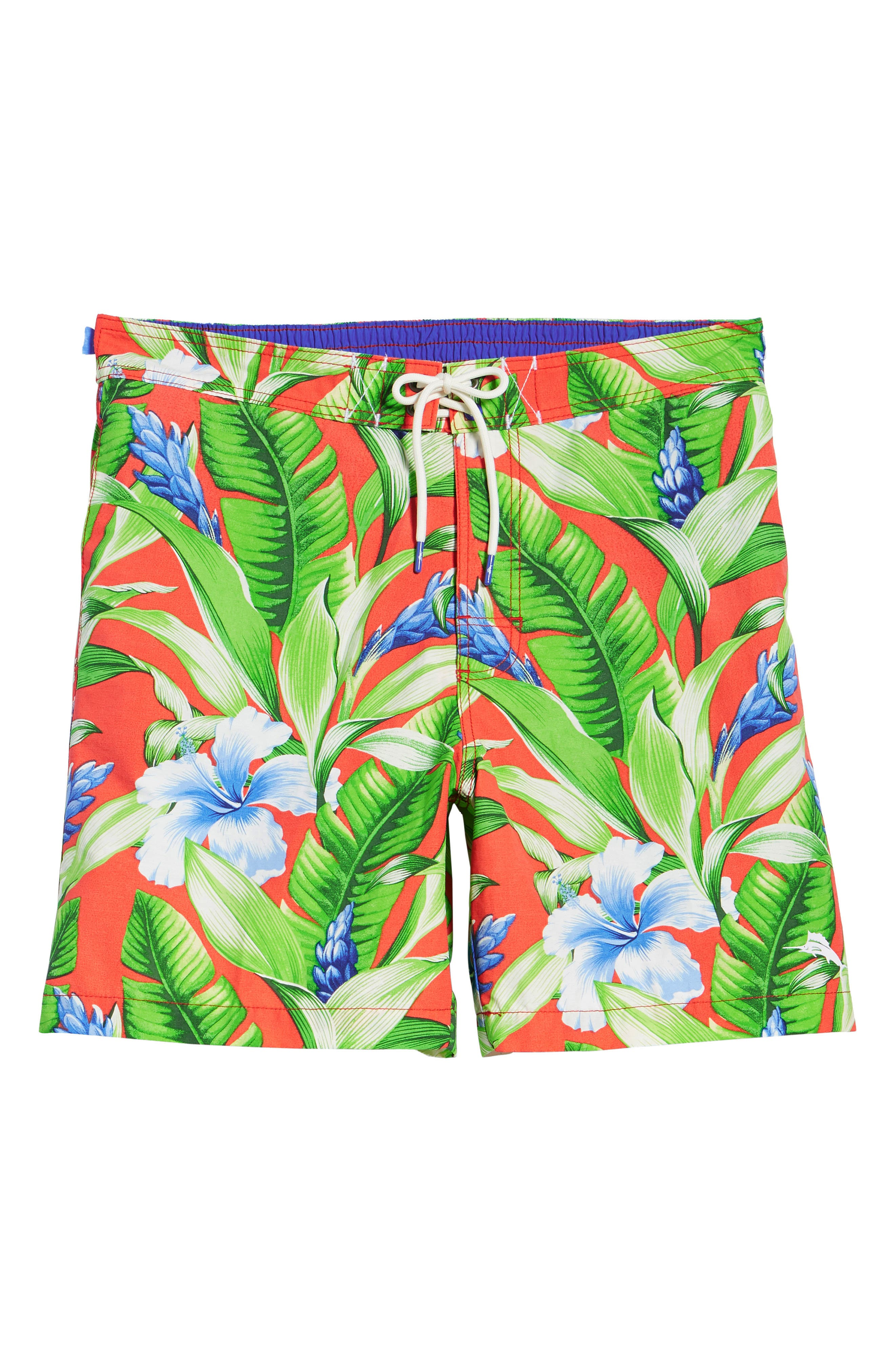 Baja Tulum Bloom Board Shorts,                             Alternate thumbnail 6, color,                             Fire Orange