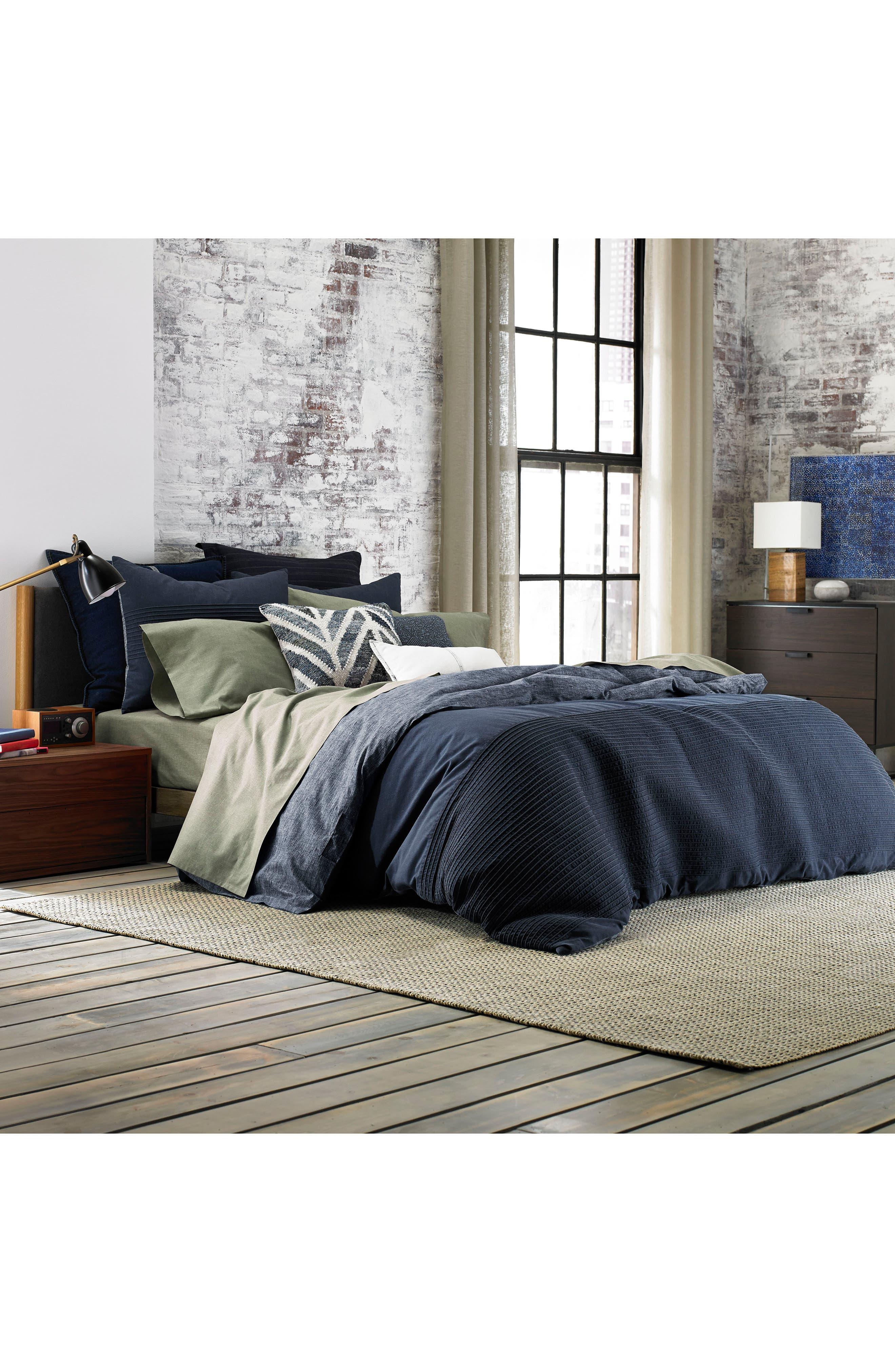 Vintage Pleated Comforter & Sham Set,                             Main thumbnail 1, color,                             Denim Blue