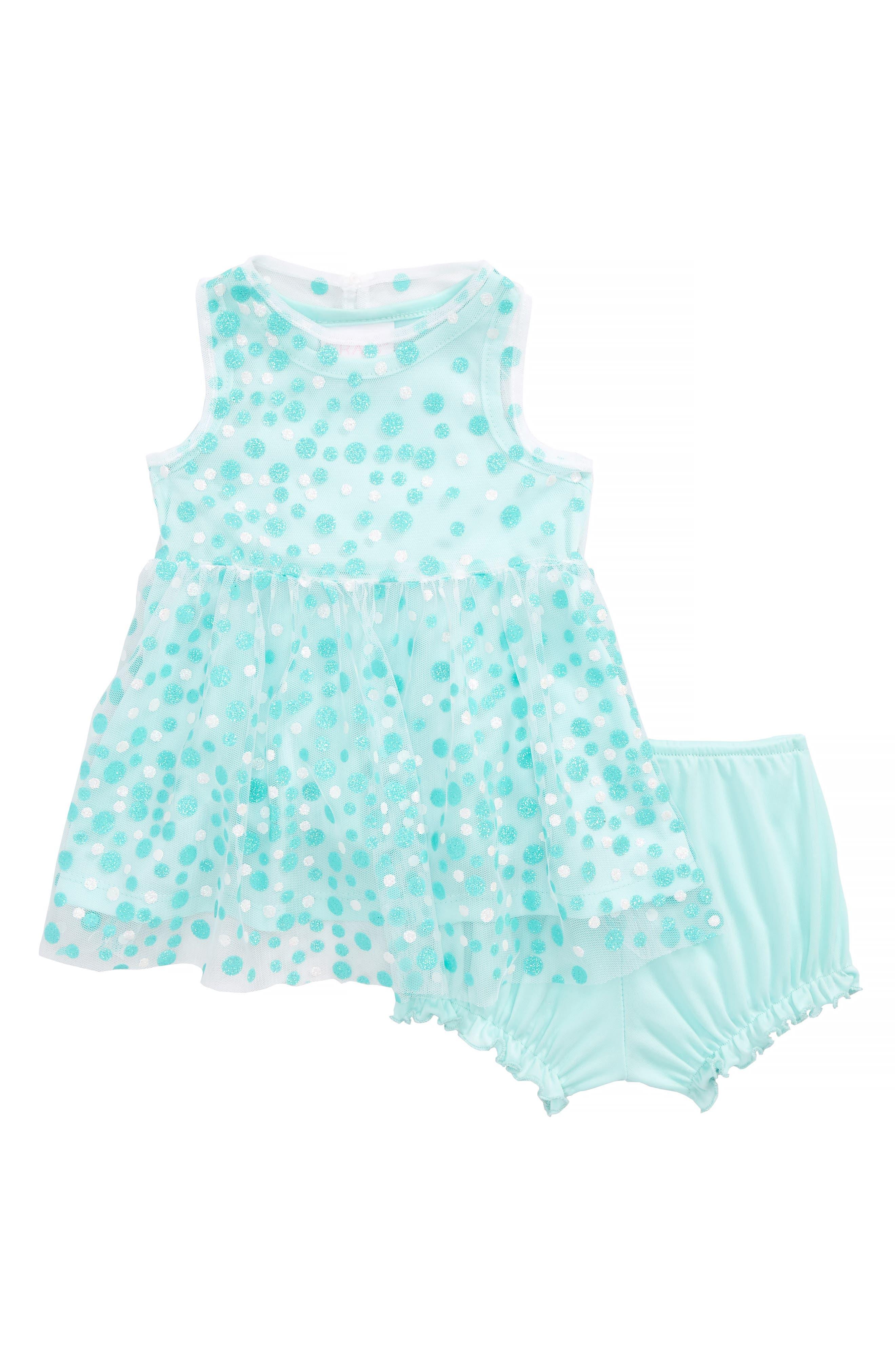 Glitter Dot Sleeveless Dress,                         Main,                         color, Mint