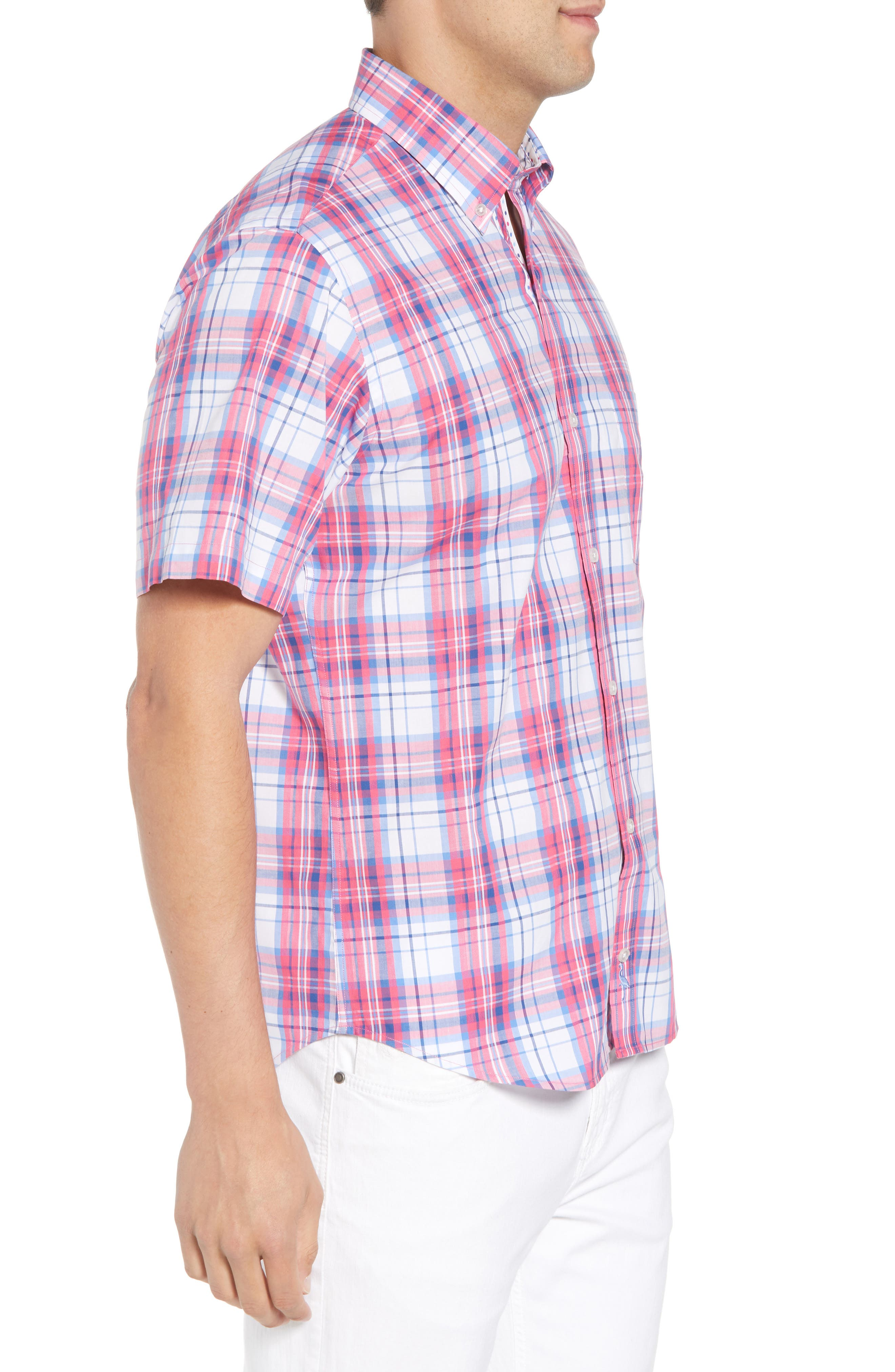 Alesso Regular Fit Plaid Sport Shirt,                             Alternate thumbnail 4, color,                             Coral