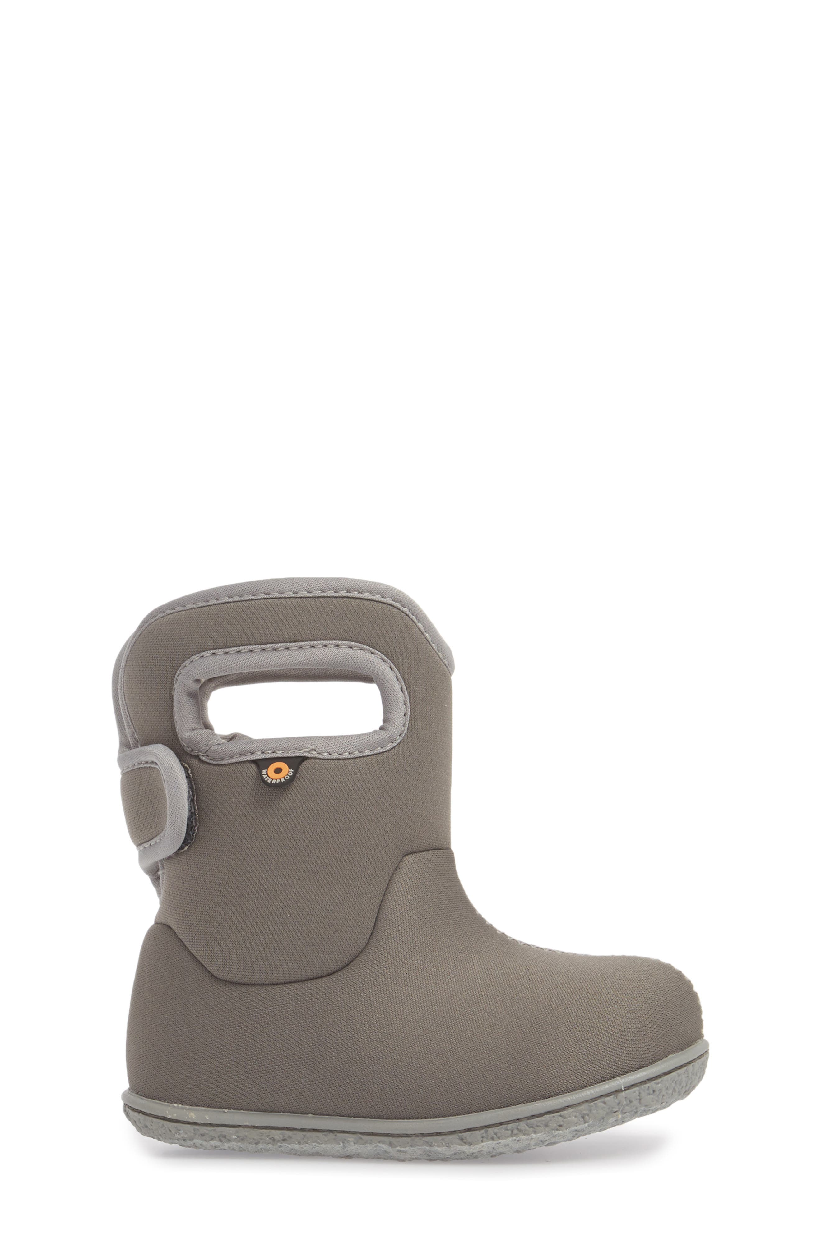 Classic Solid Insulated Waterproof Rain Boot,                             Alternate thumbnail 3, color,                             Light Gray Multi