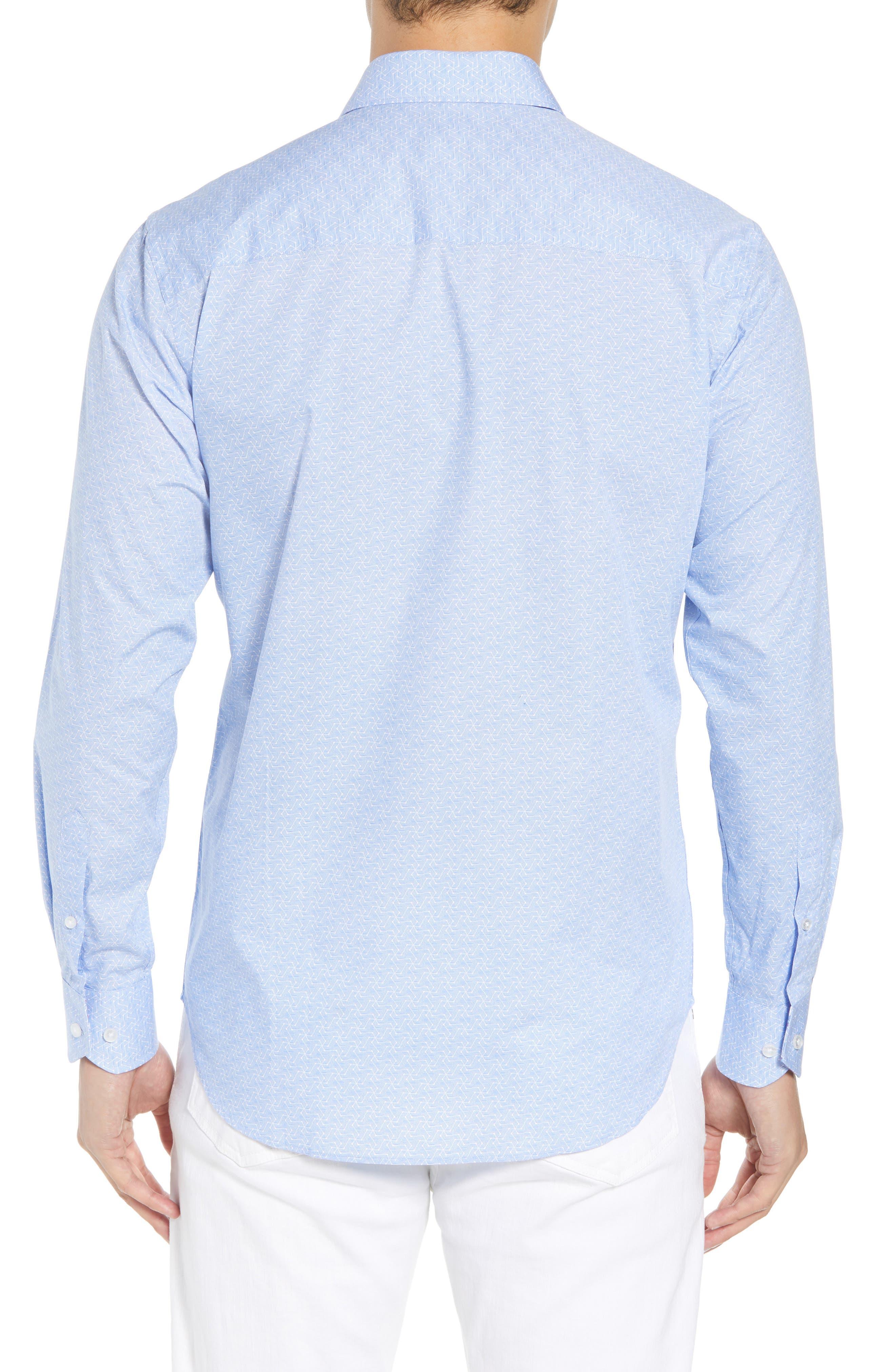 Beckham Regular Fit Plaid Sport Shirt,                             Alternate thumbnail 3, color,                             Light Blue