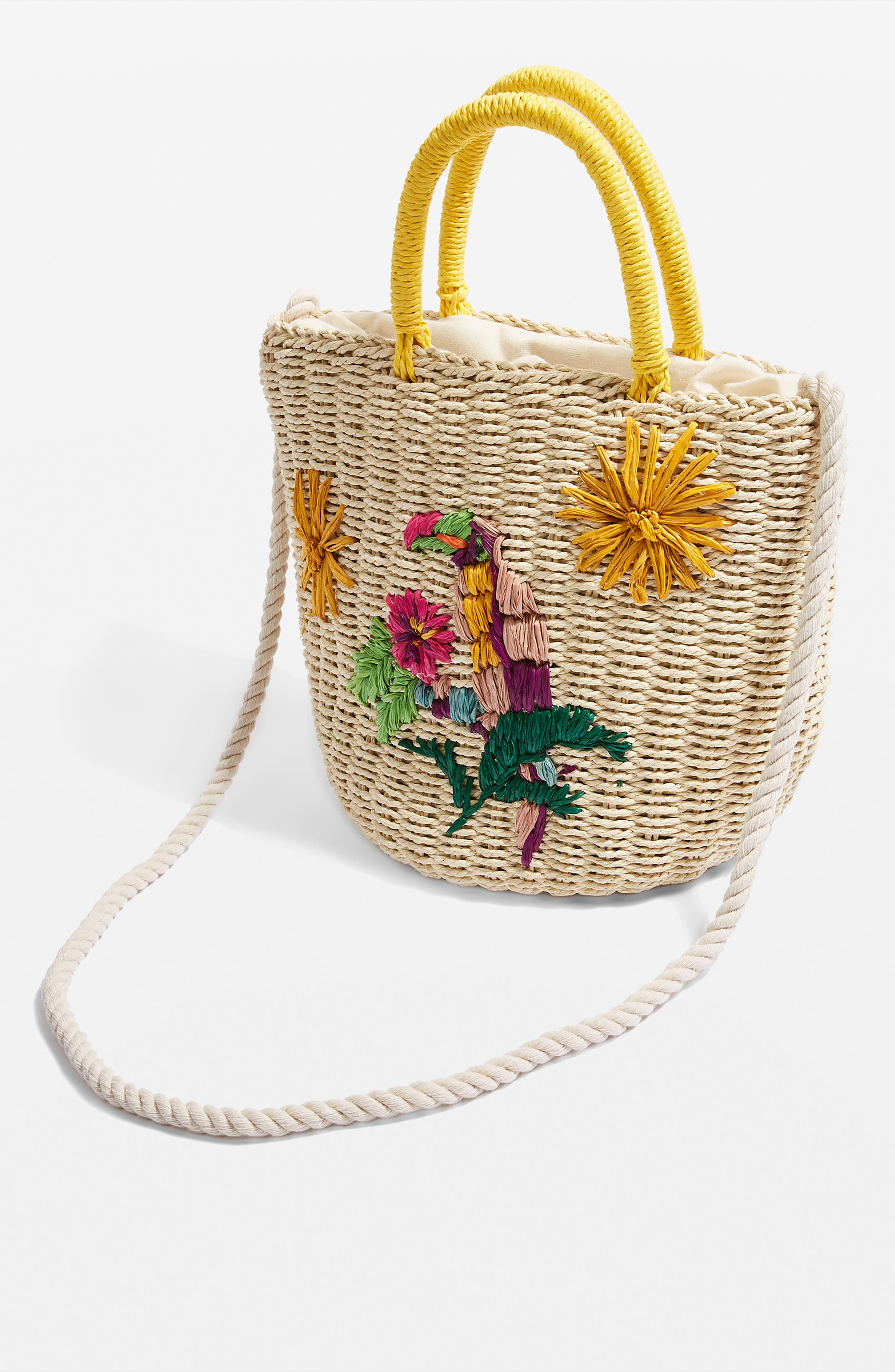 Betsy Toucan Straw Bag,                             Alternate thumbnail 3, color,                             Nude Multi