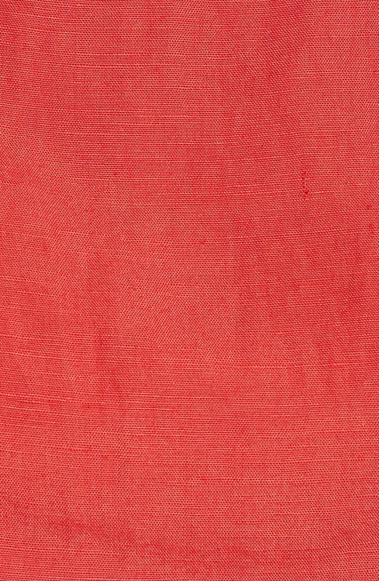 Linen Blend Crop Top,                             Alternate thumbnail 5, color,                             Bright Red