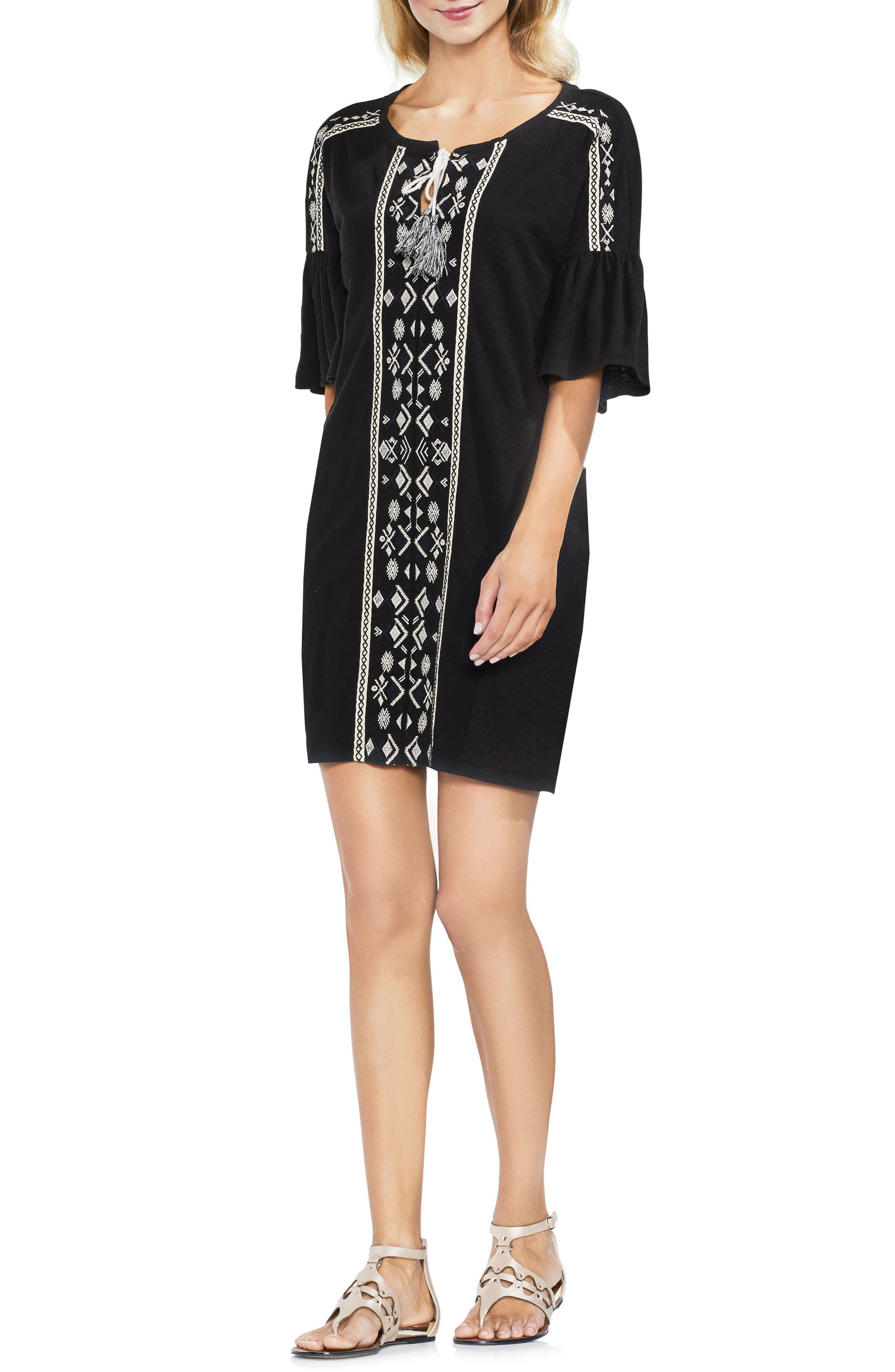 Embroidered Shift Dress,                             Main thumbnail 1, color,                             Rich Black