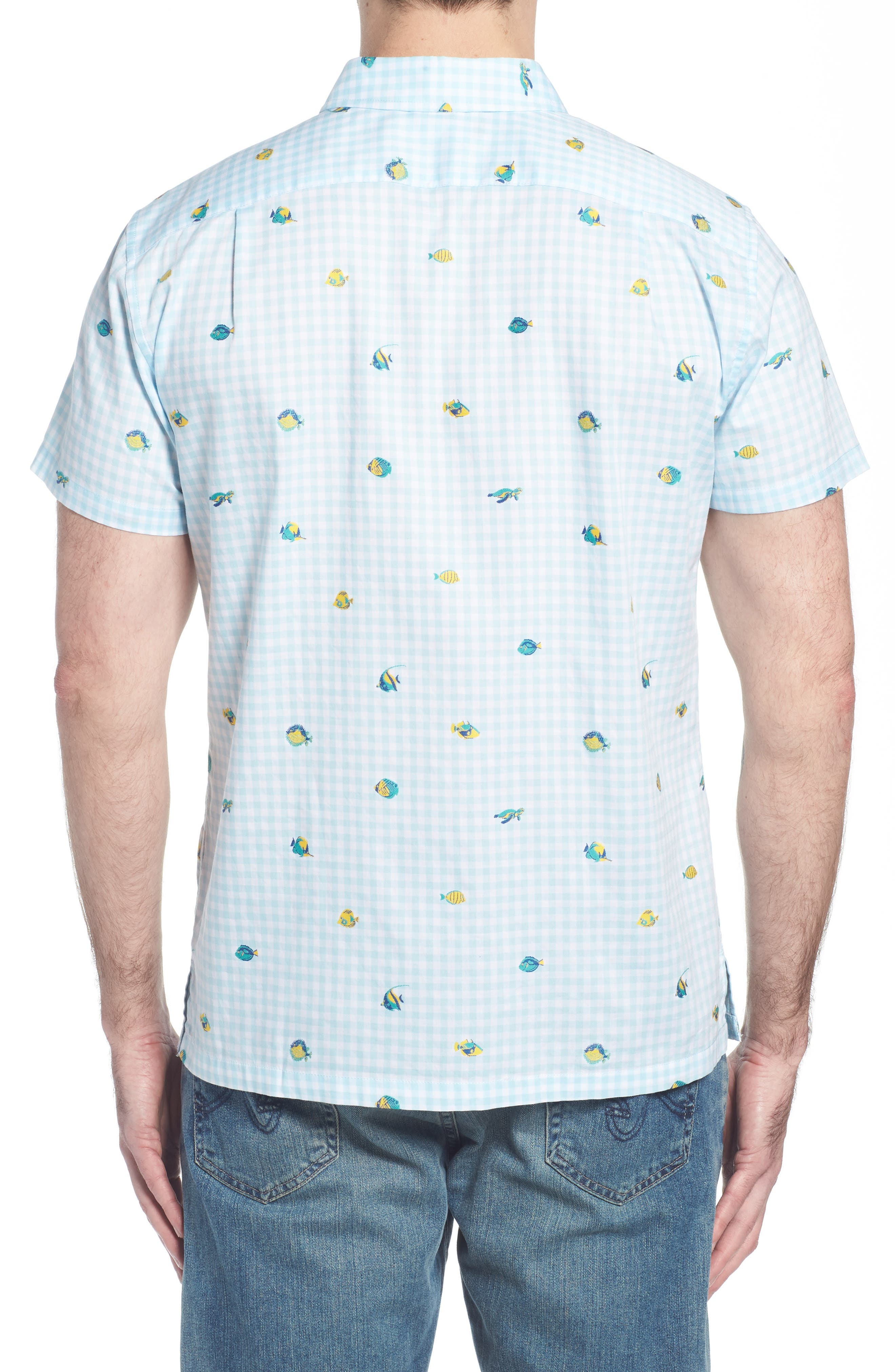 Picnic Reef Trim Fit Embroidered Camp Shirt,                             Alternate thumbnail 4, color,                             Sky Blue