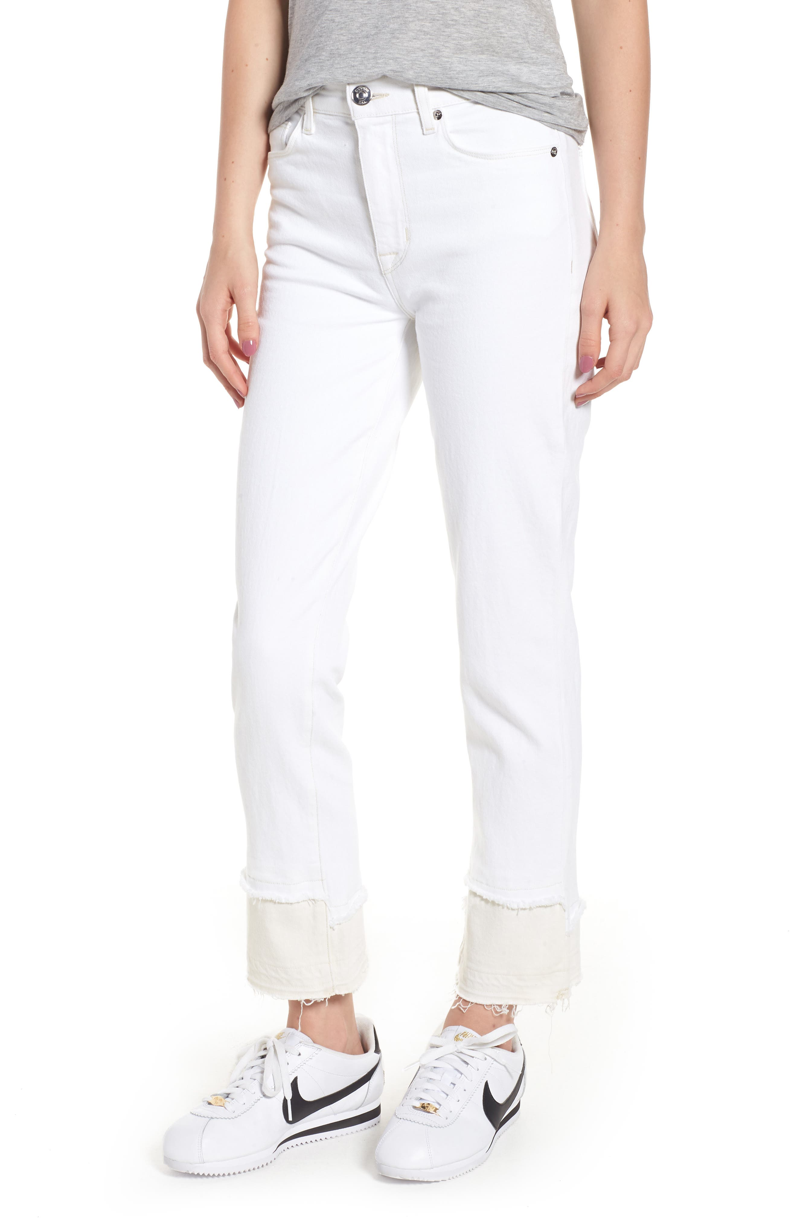Zoeey High Waist Crop Straight Leg Jeans,                         Main,                         color, Stepped White