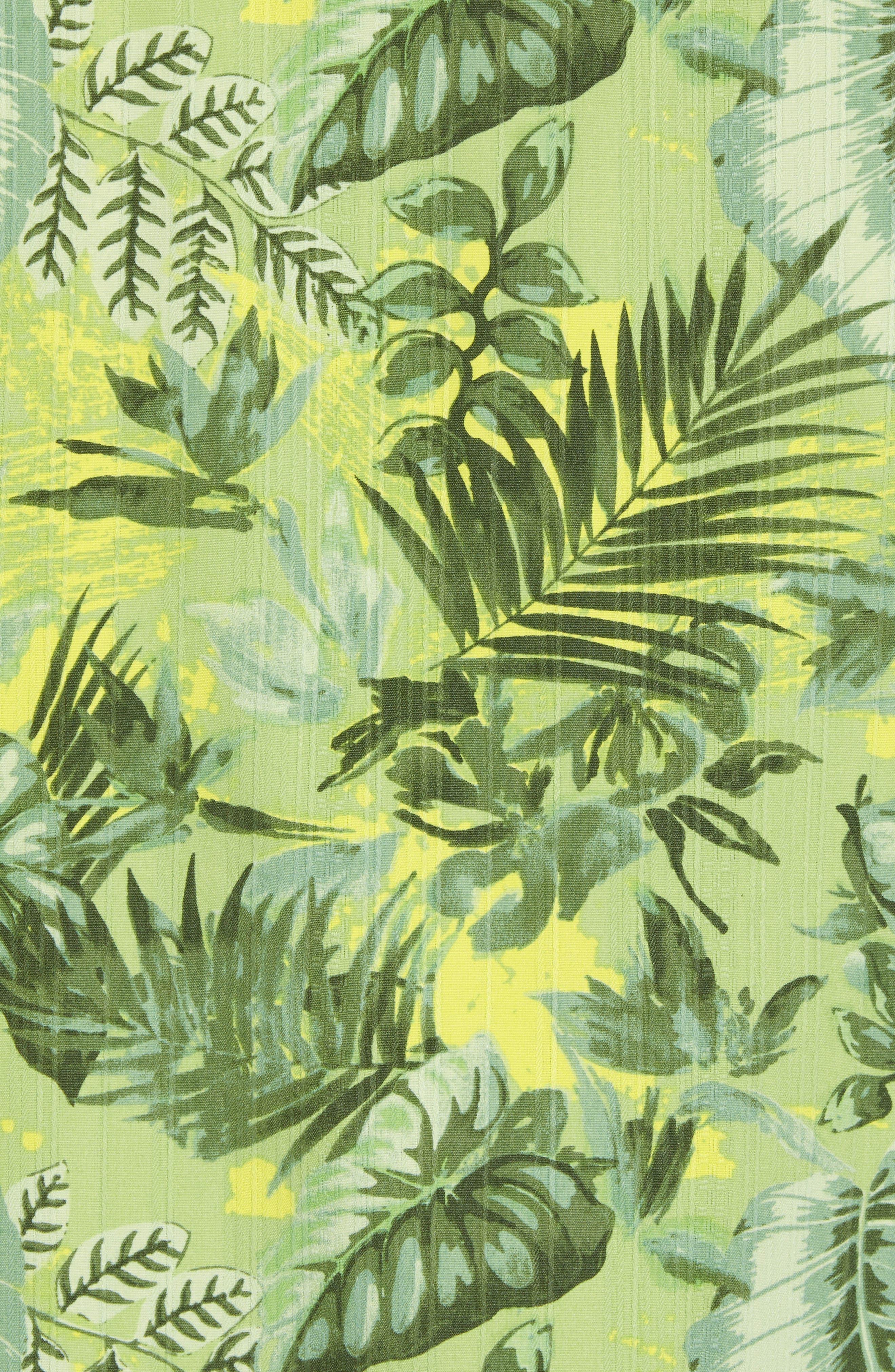 Selva Shores Silk Blend Performance Camp Shirt,                             Alternate thumbnail 5, color,                             Jasmine Green