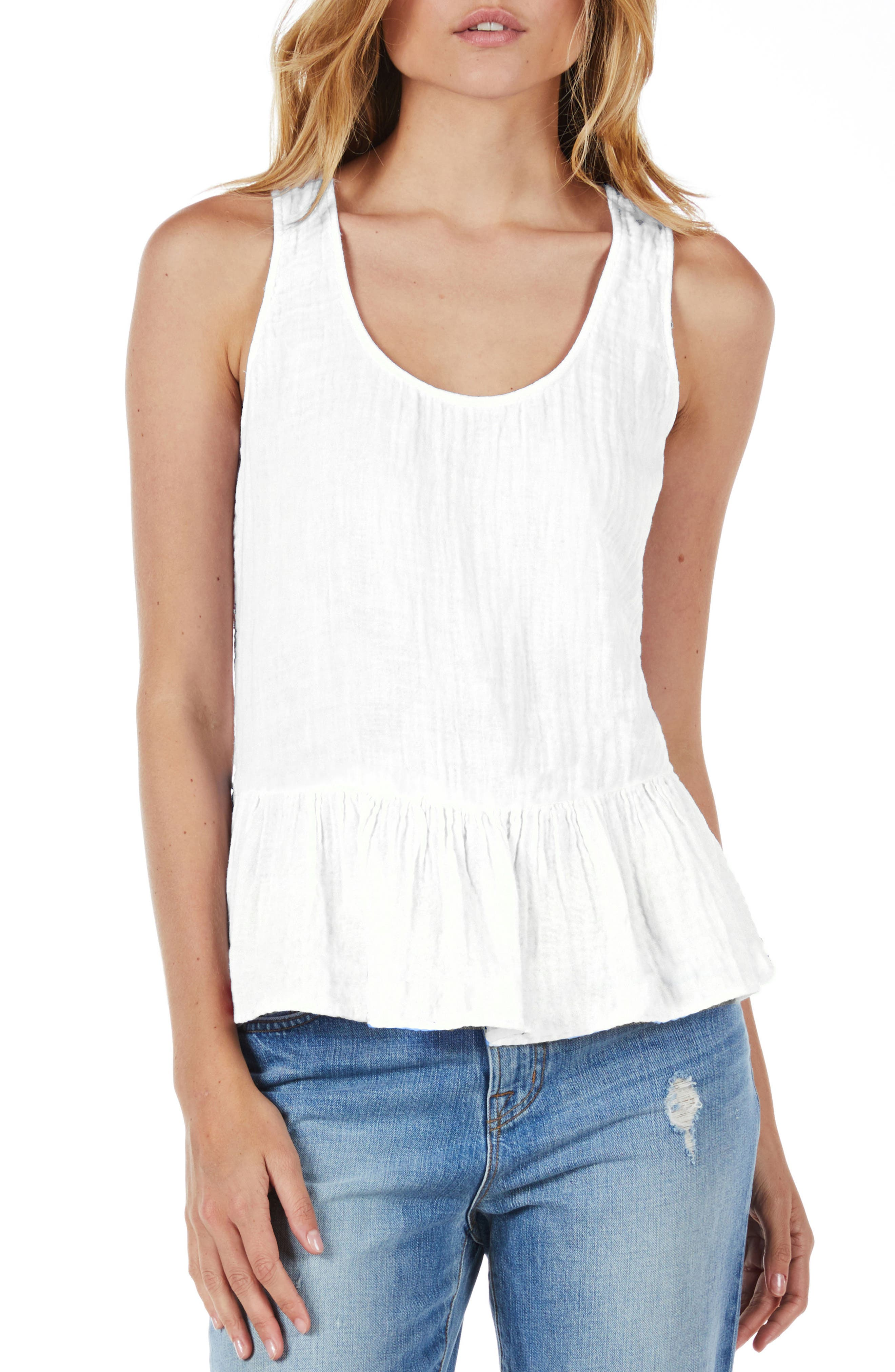 Peplum Tank,                             Main thumbnail 1, color,                             White