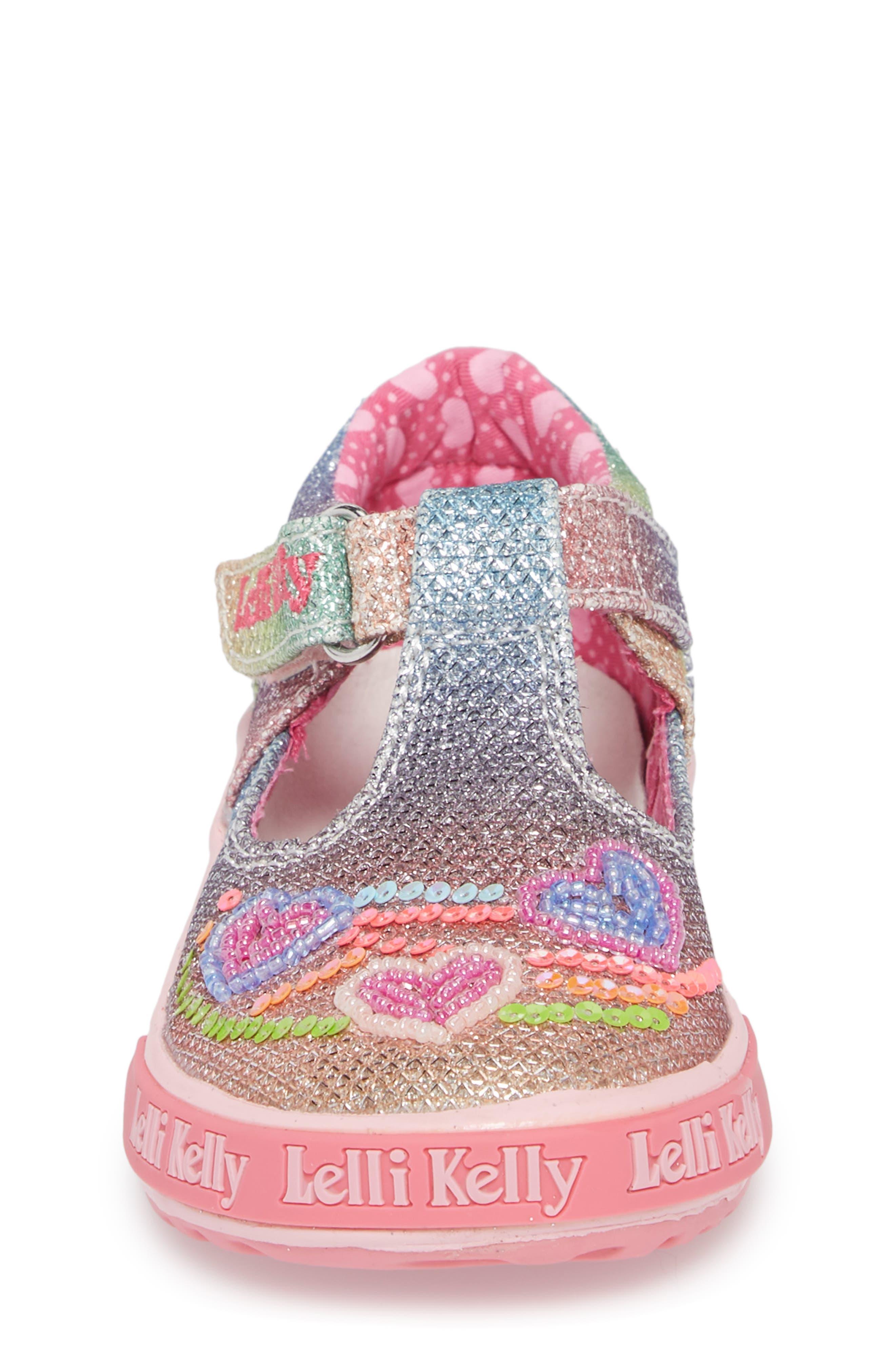 Glitter Metallic T-Strap Mary Jane,                             Alternate thumbnail 4, color,                             Pink