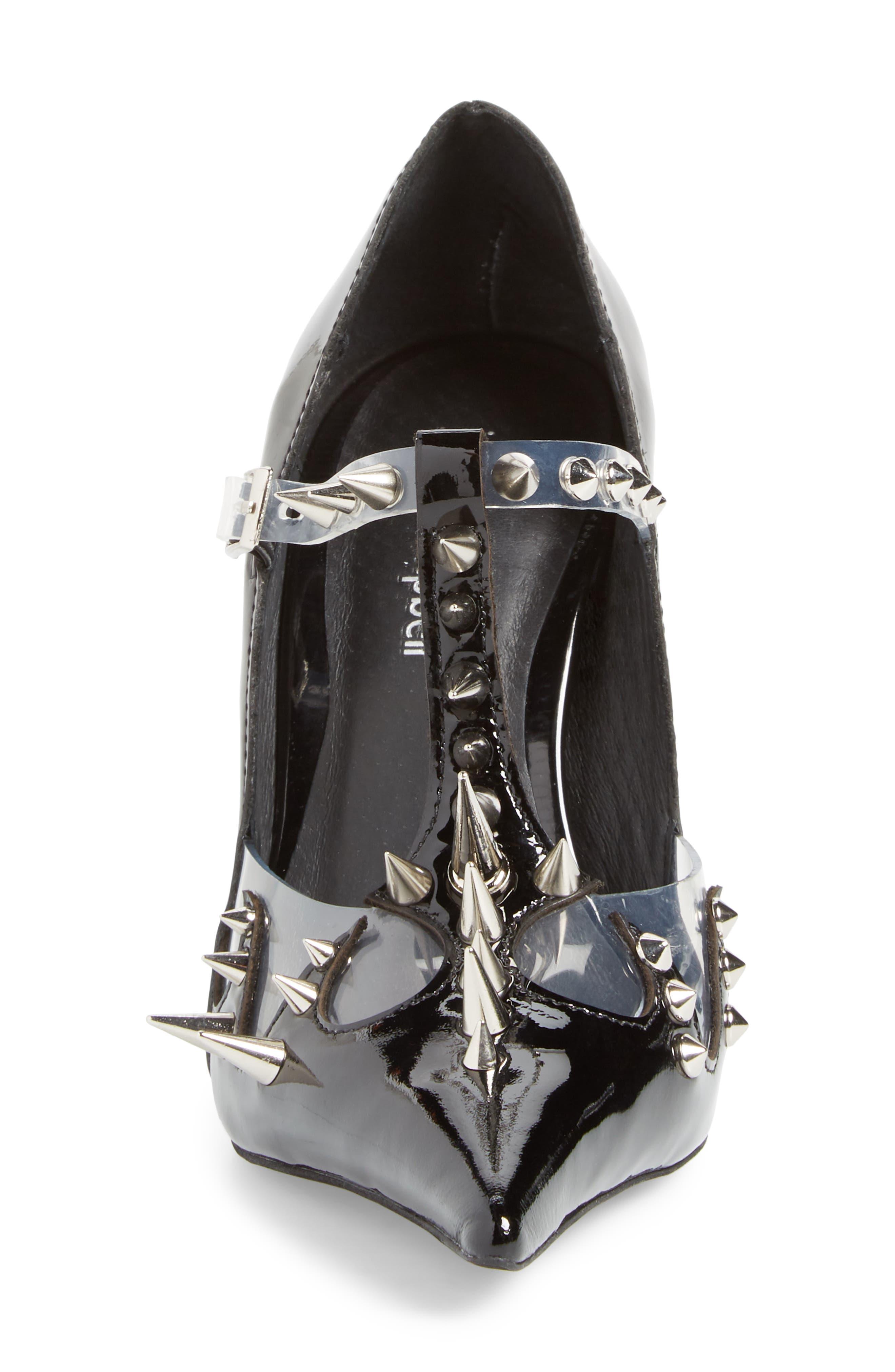 Violent Studded Pump,                             Alternate thumbnail 4, color,                             Black Patent