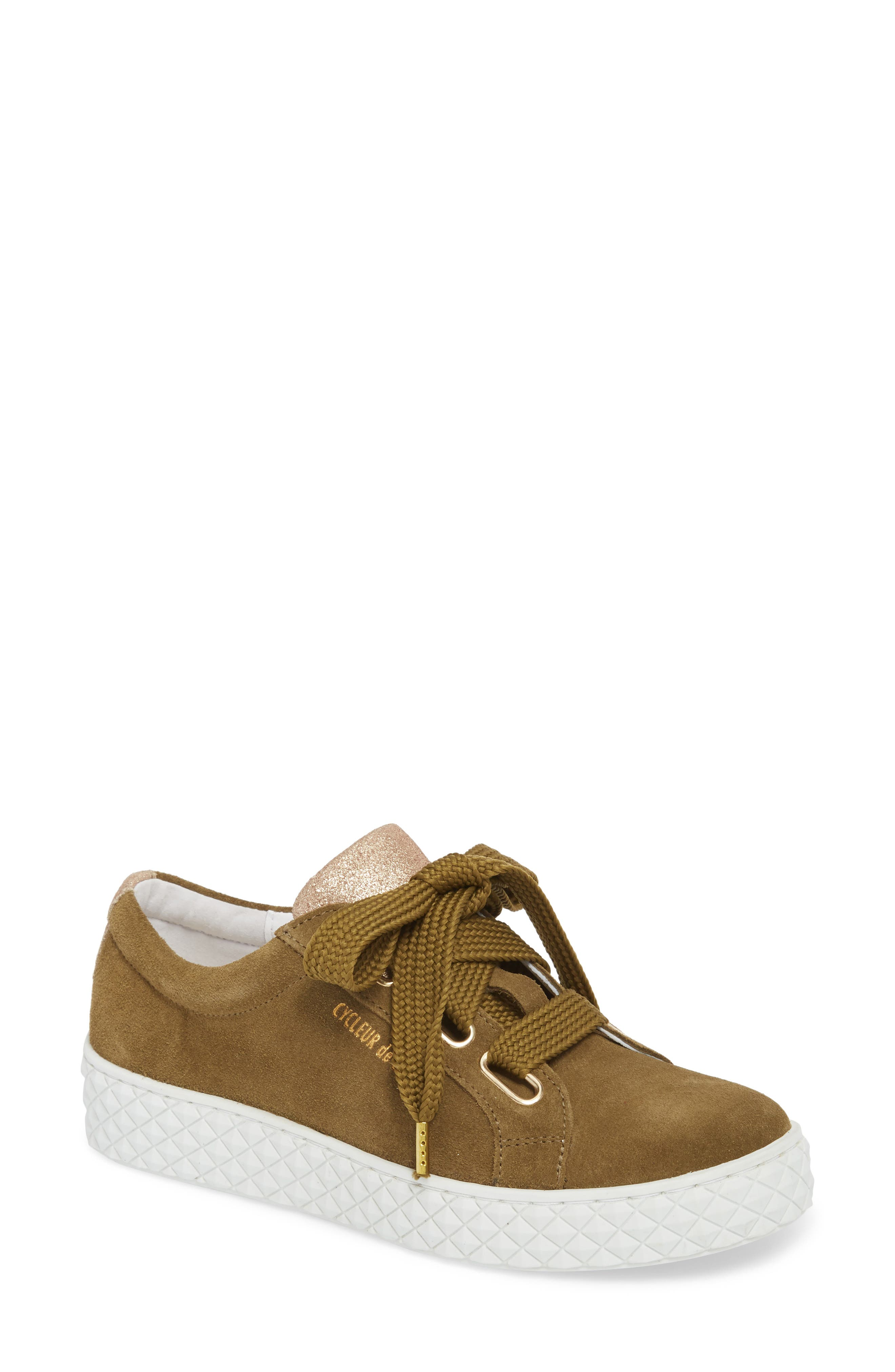 Acton III Sneaker,                             Main thumbnail 1, color,                             Military Green/ Gold Suede