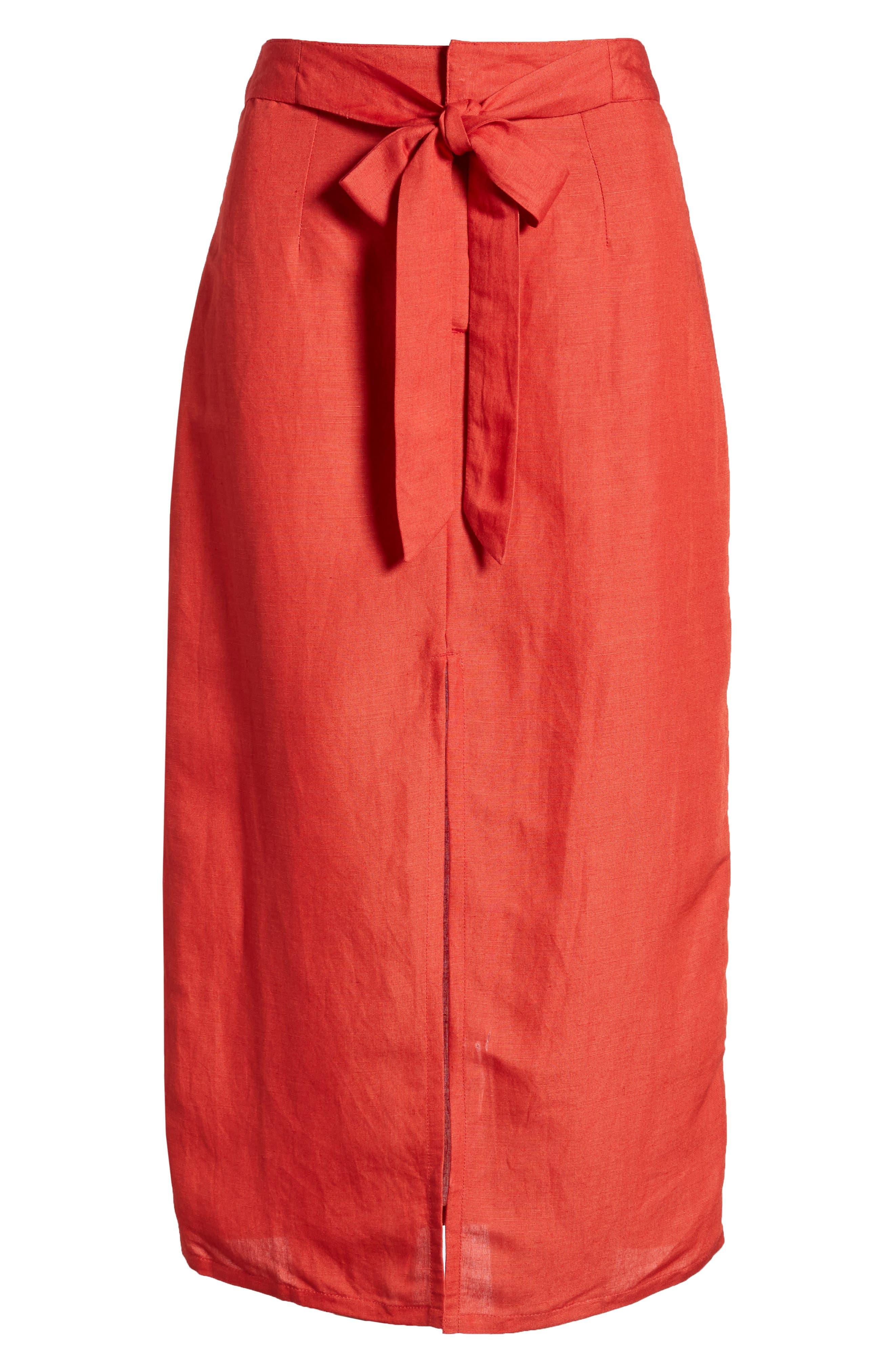Linen Blend Midi Skirt,                             Alternate thumbnail 7, color,                             Red
