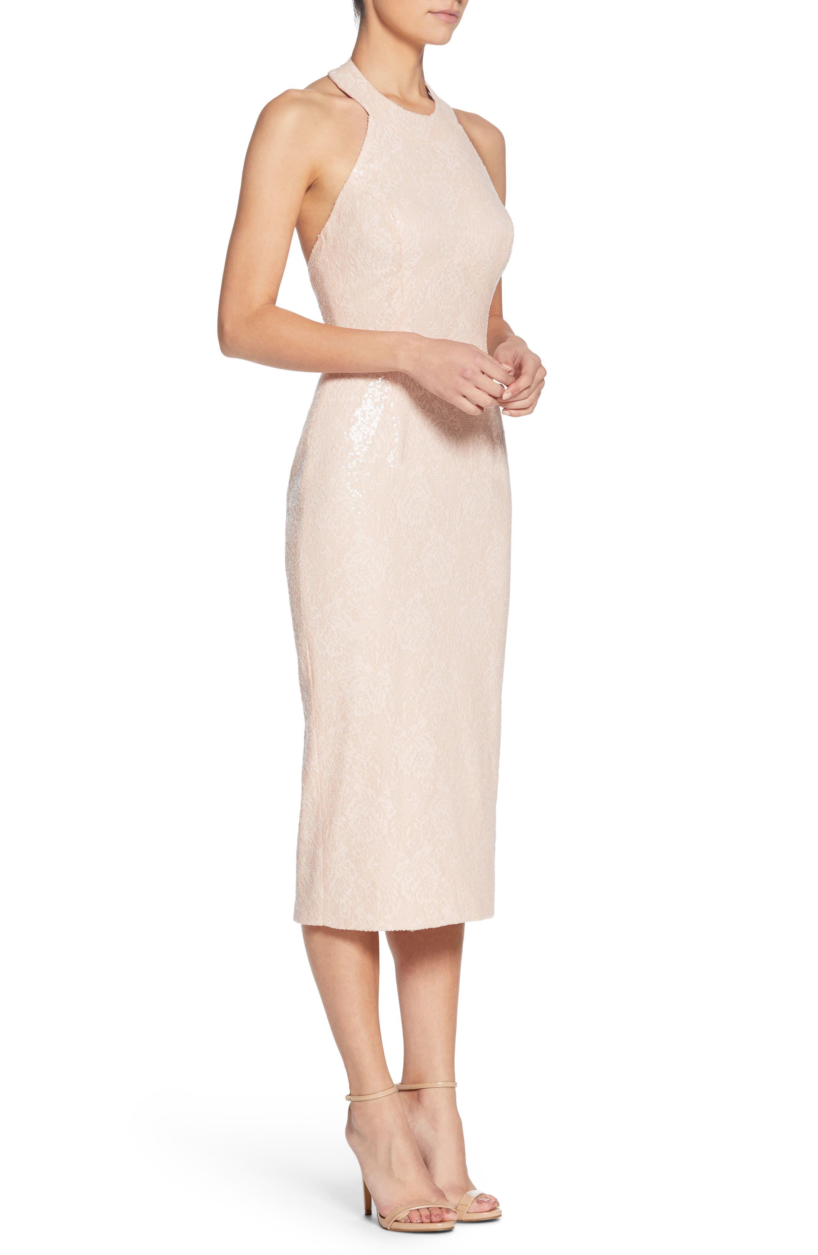 Cassie Halter Sequin Dress,                             Alternate thumbnail 3, color,                             Pink/ Nude