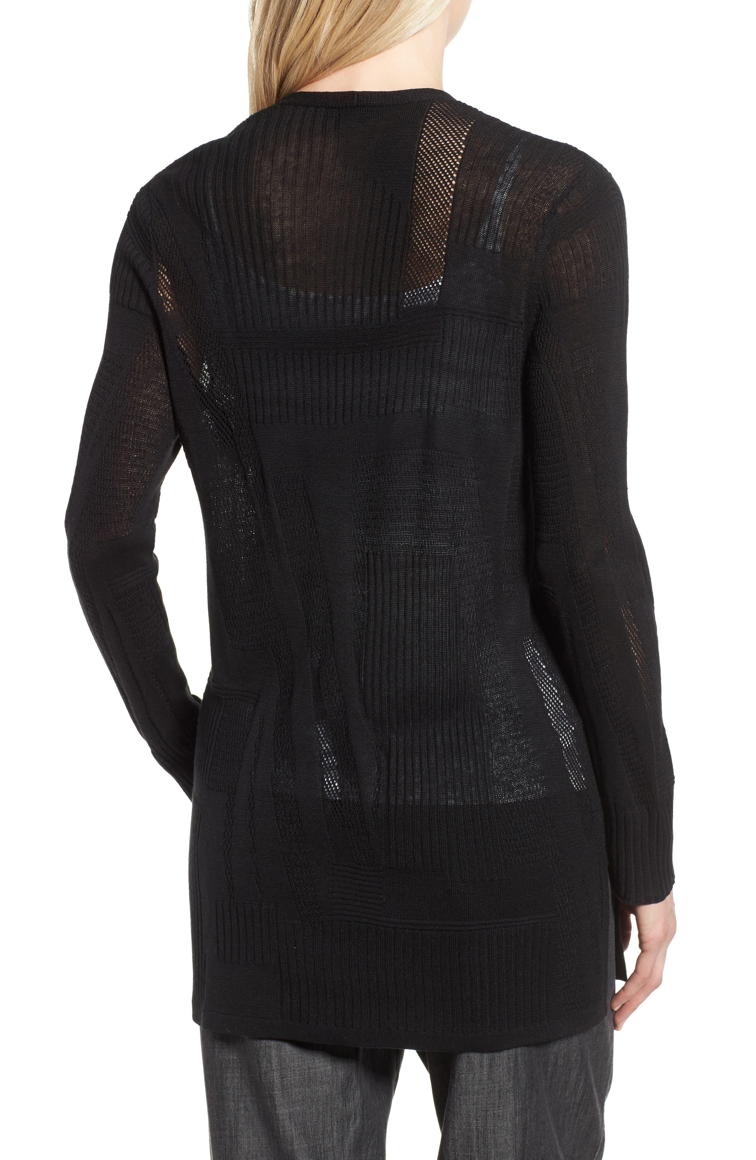 Simple Silk & Organic Linen Cardigan,                             Alternate thumbnail 2, color,                             Black
