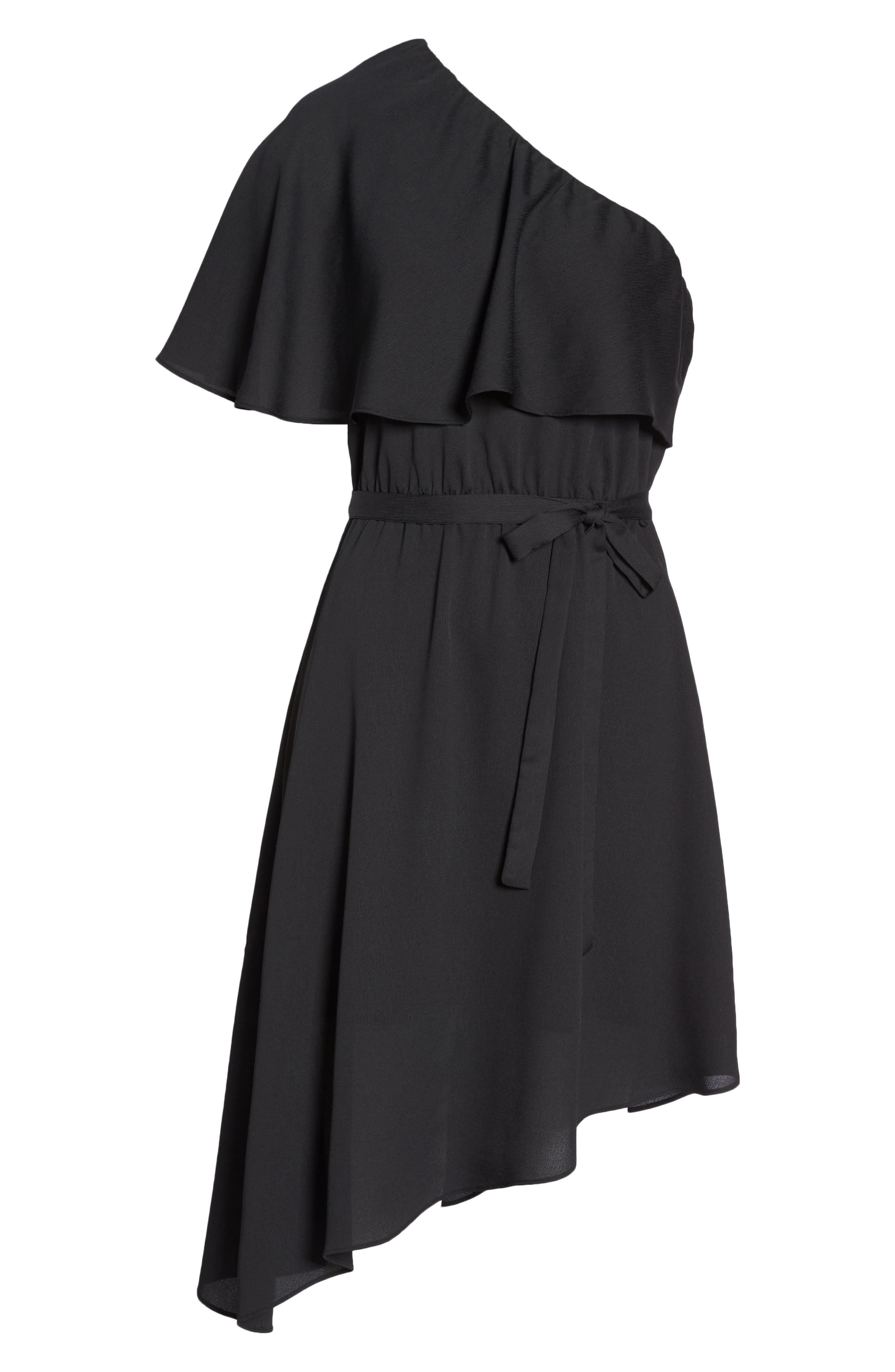 One-Shoulder Asymmetrical Dress,                             Alternate thumbnail 7, color,                             Black