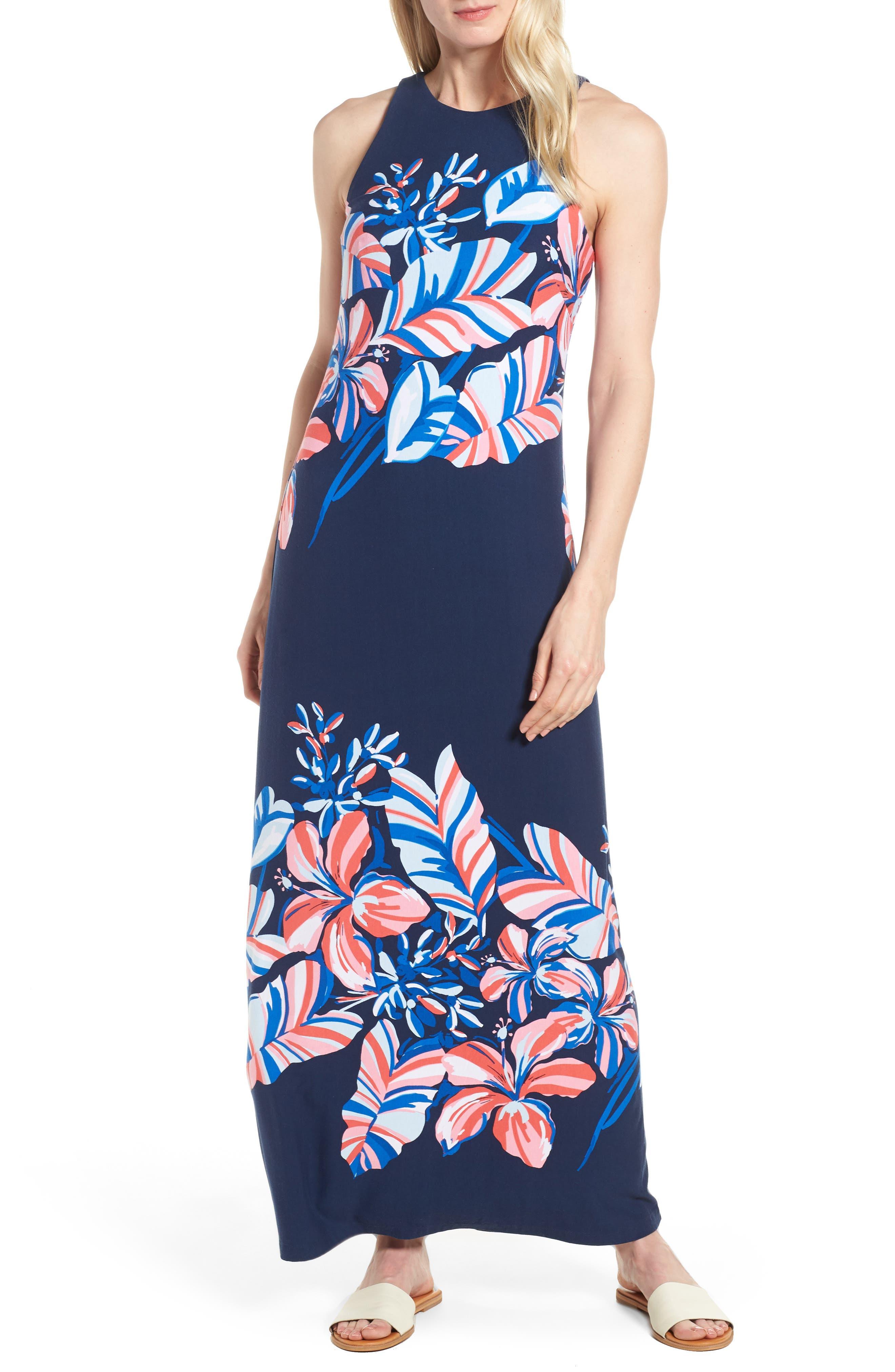 Le Tigre Floral Maxi Dress,                             Main thumbnail 1, color,                             Ocean Deep
