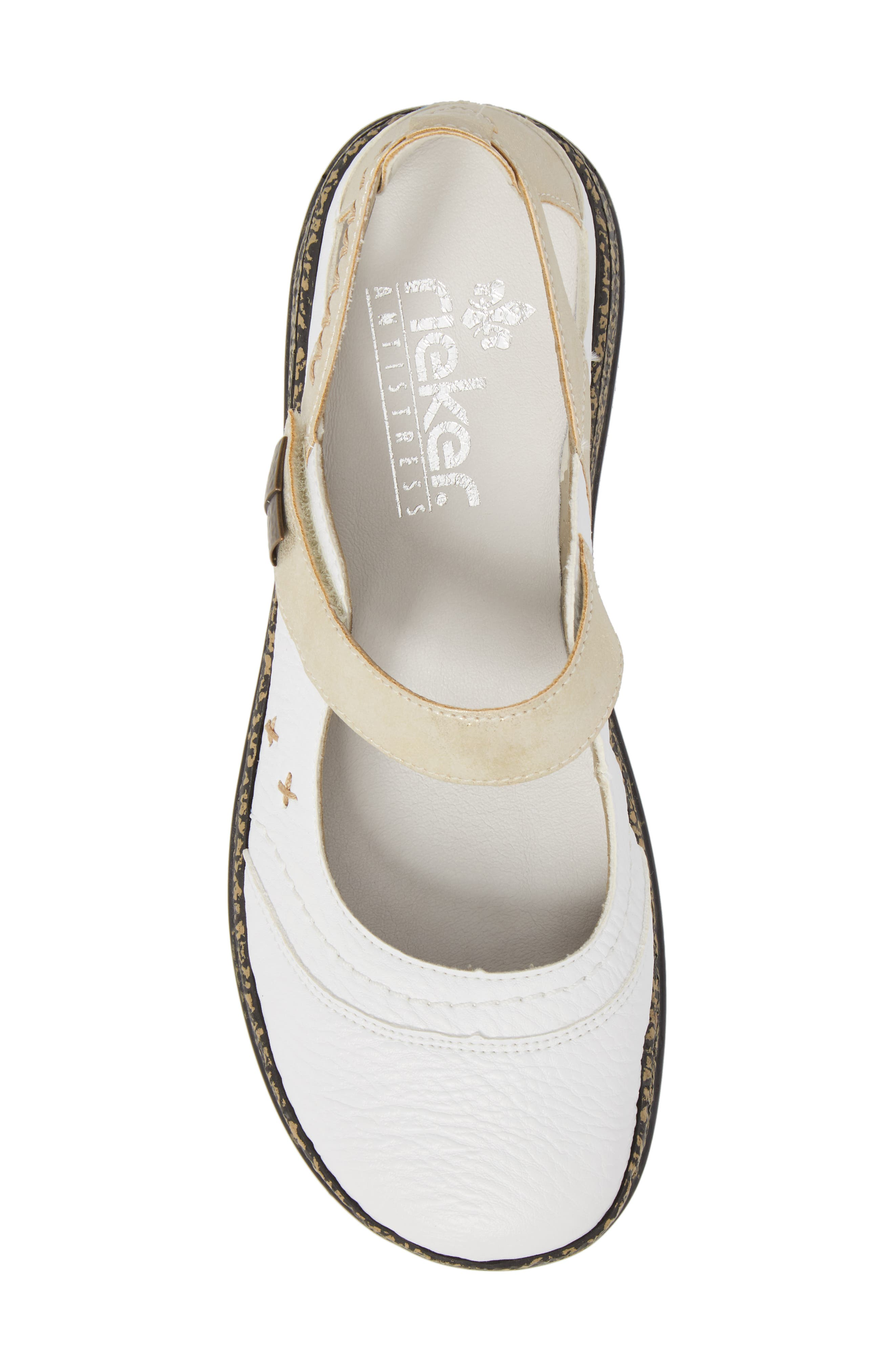 Daisy 78 Mary Jane Flat,                             Alternate thumbnail 5, color,                             White/ Gold Synthetic Leather