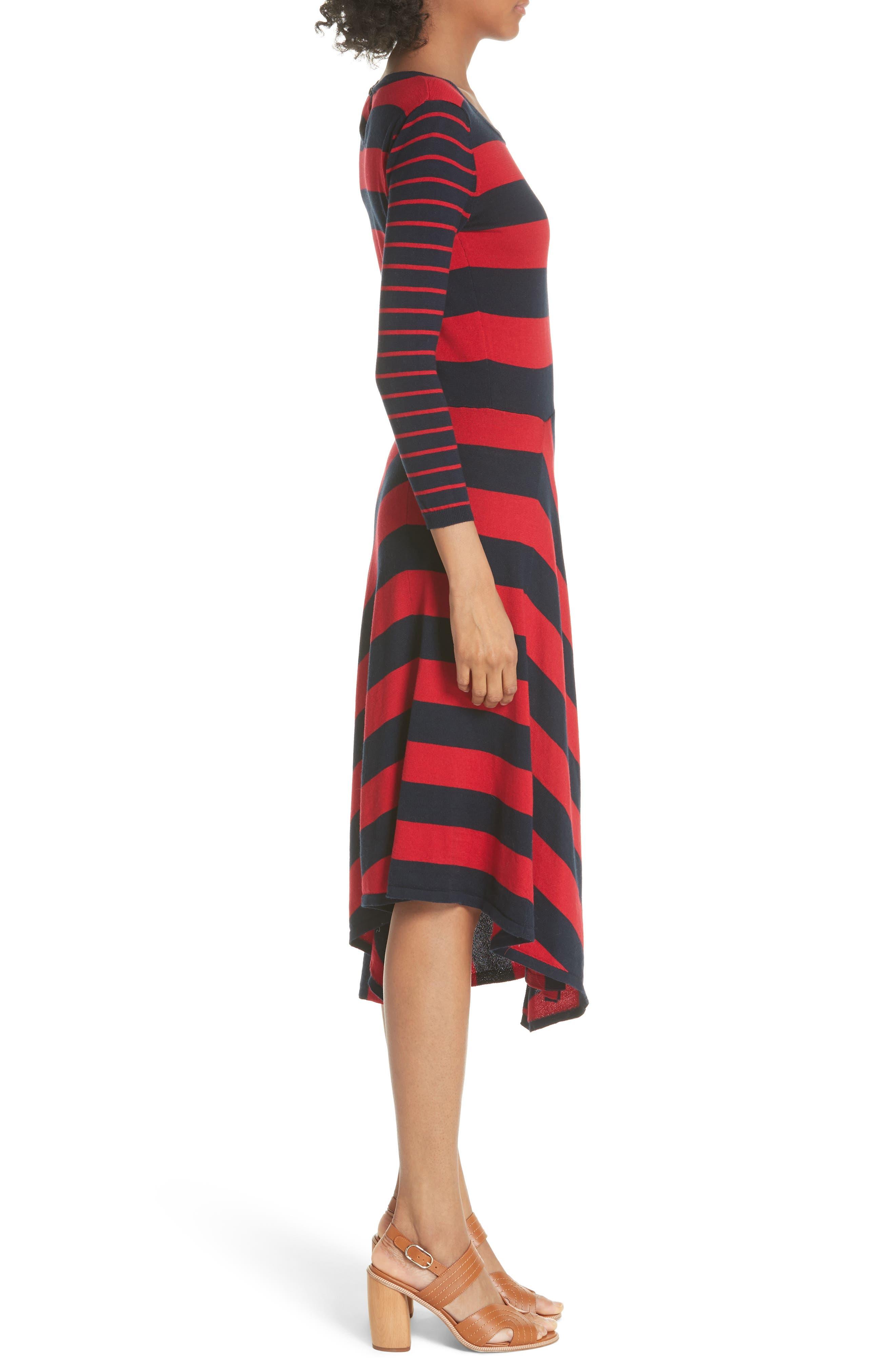 Ecedra Asymmetrical Stripe Faux Wrap Dress,                             Alternate thumbnail 4, color,                             Midnight Cherry