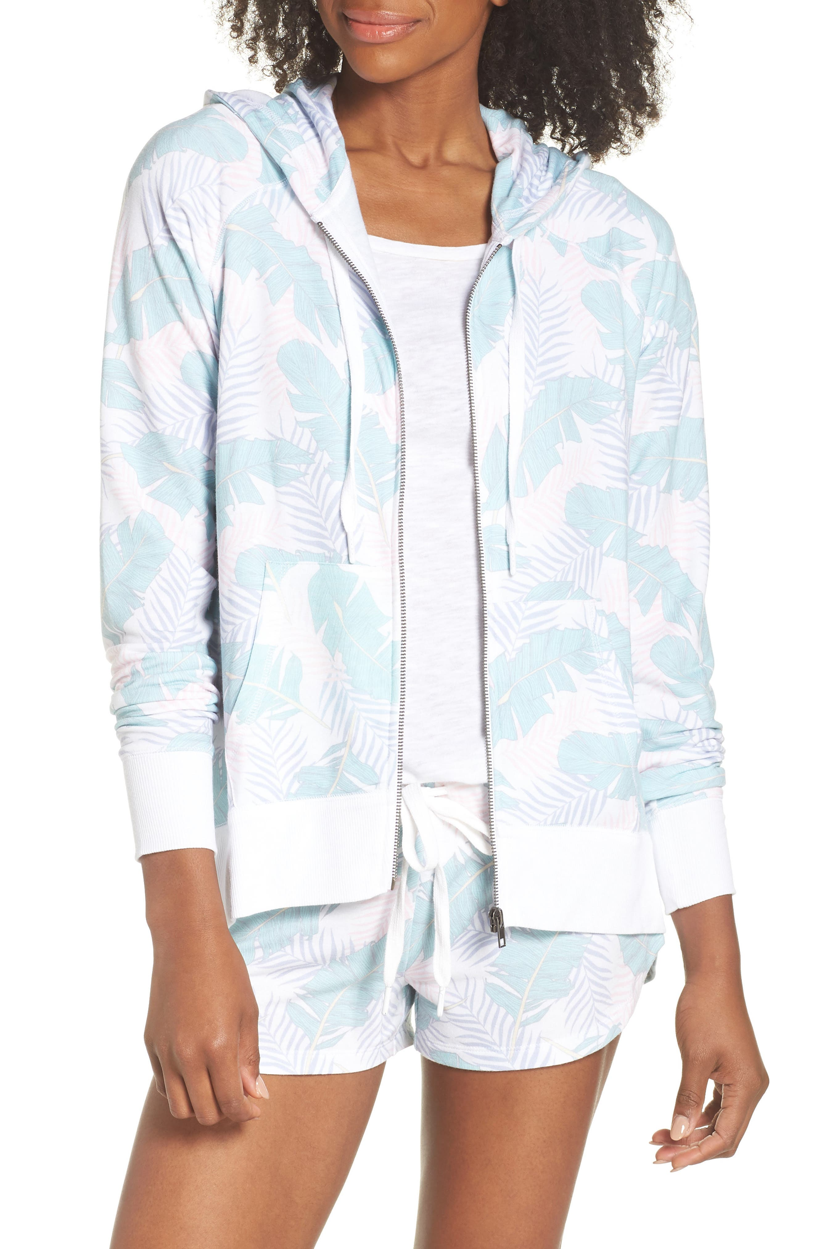 Leaf Print Zip Hoodie,                         Main,                         color, White