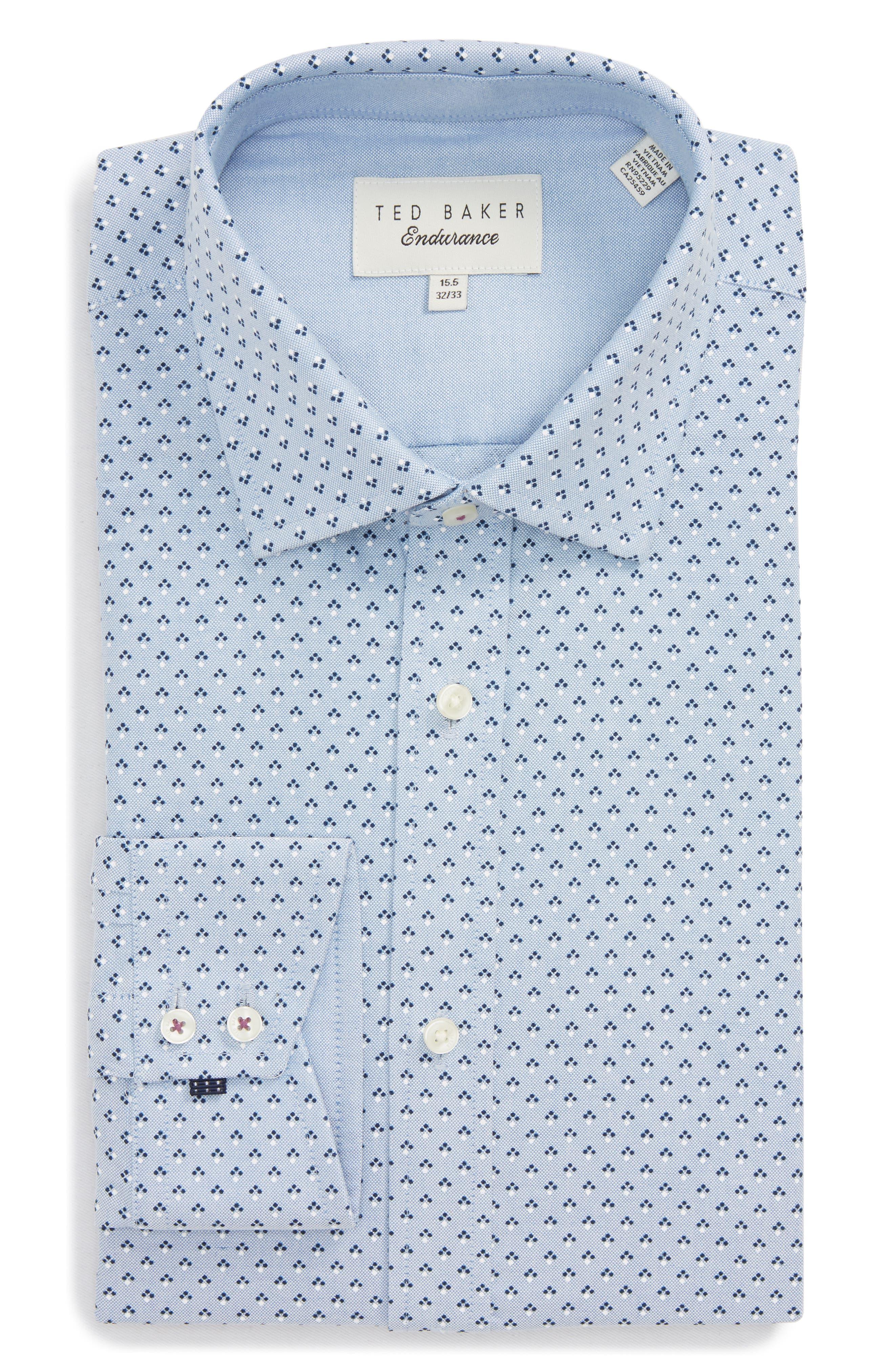 Forestr Trim Fit Geometric Dress Shirt,                             Alternate thumbnail 6, color,                             Blue