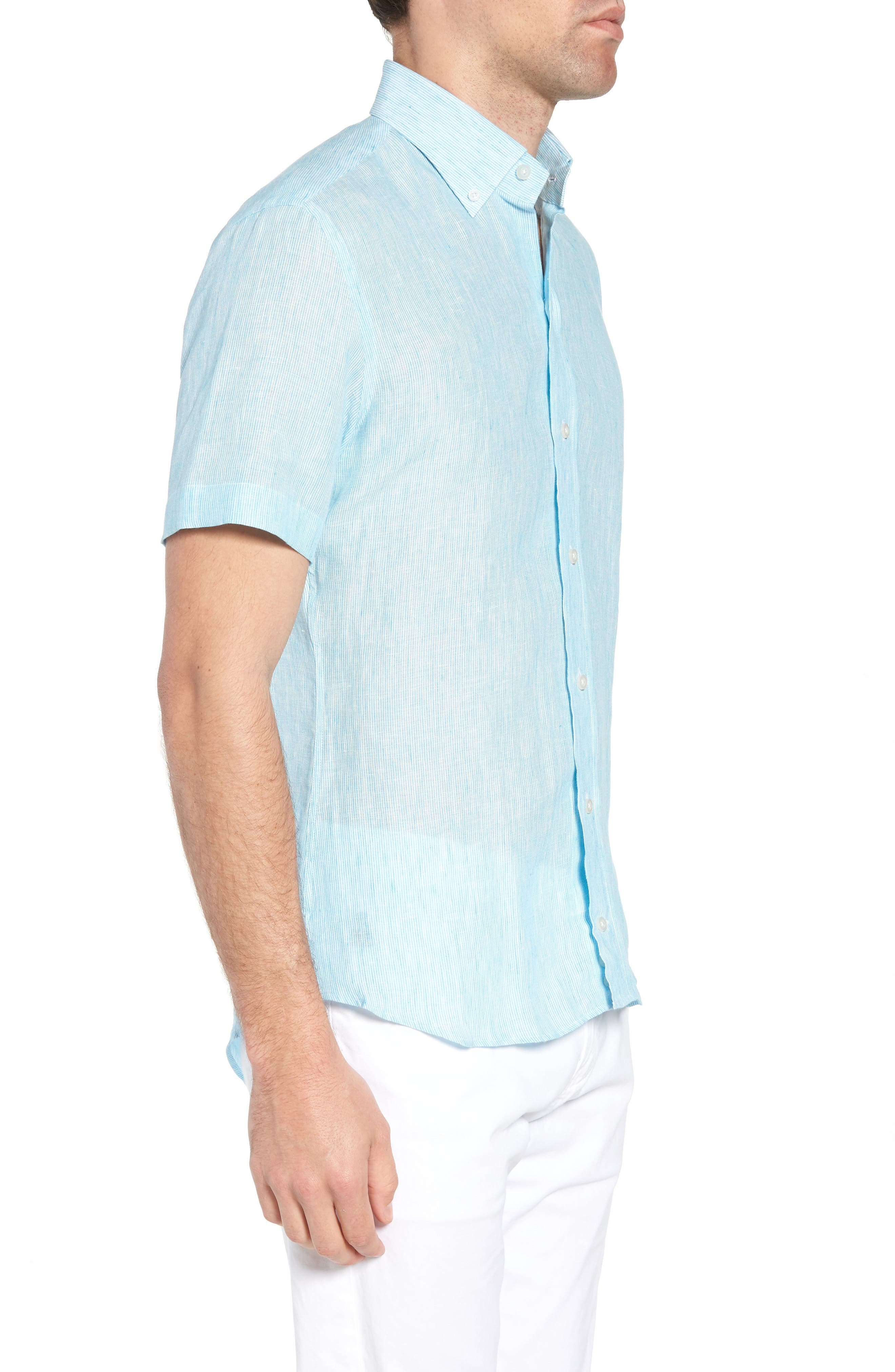 Willington Stripe Classic Fit Linen Sport Shirt,                             Alternate thumbnail 4, color,                             Pool Blue