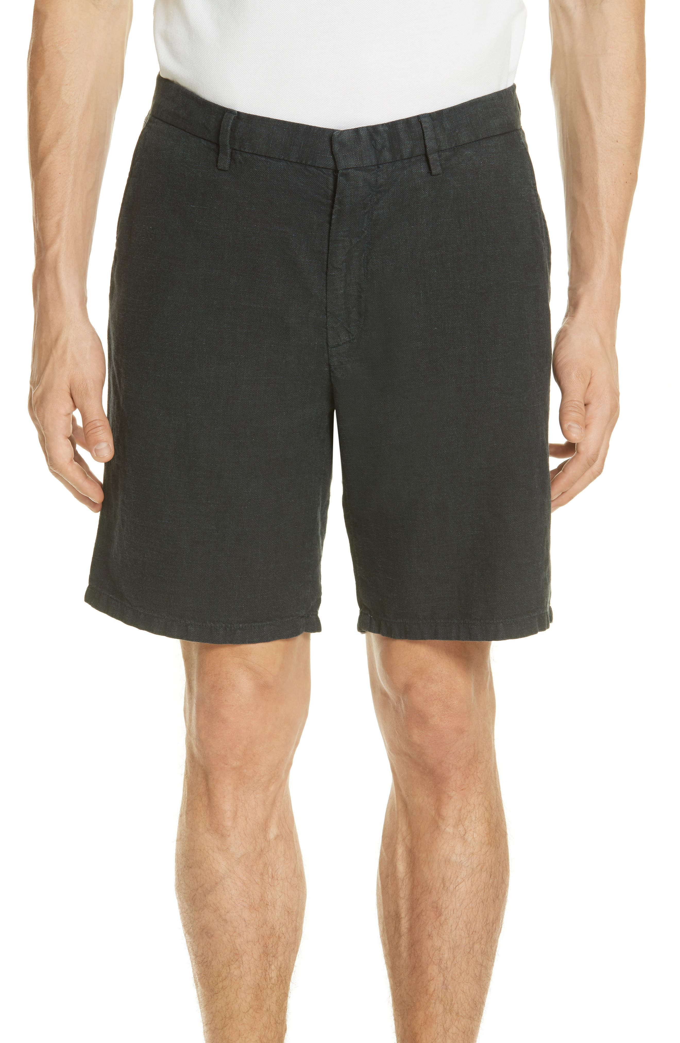 Panama Linen & Cotton Chino Shorts,                         Main,                         color, Squid Ink