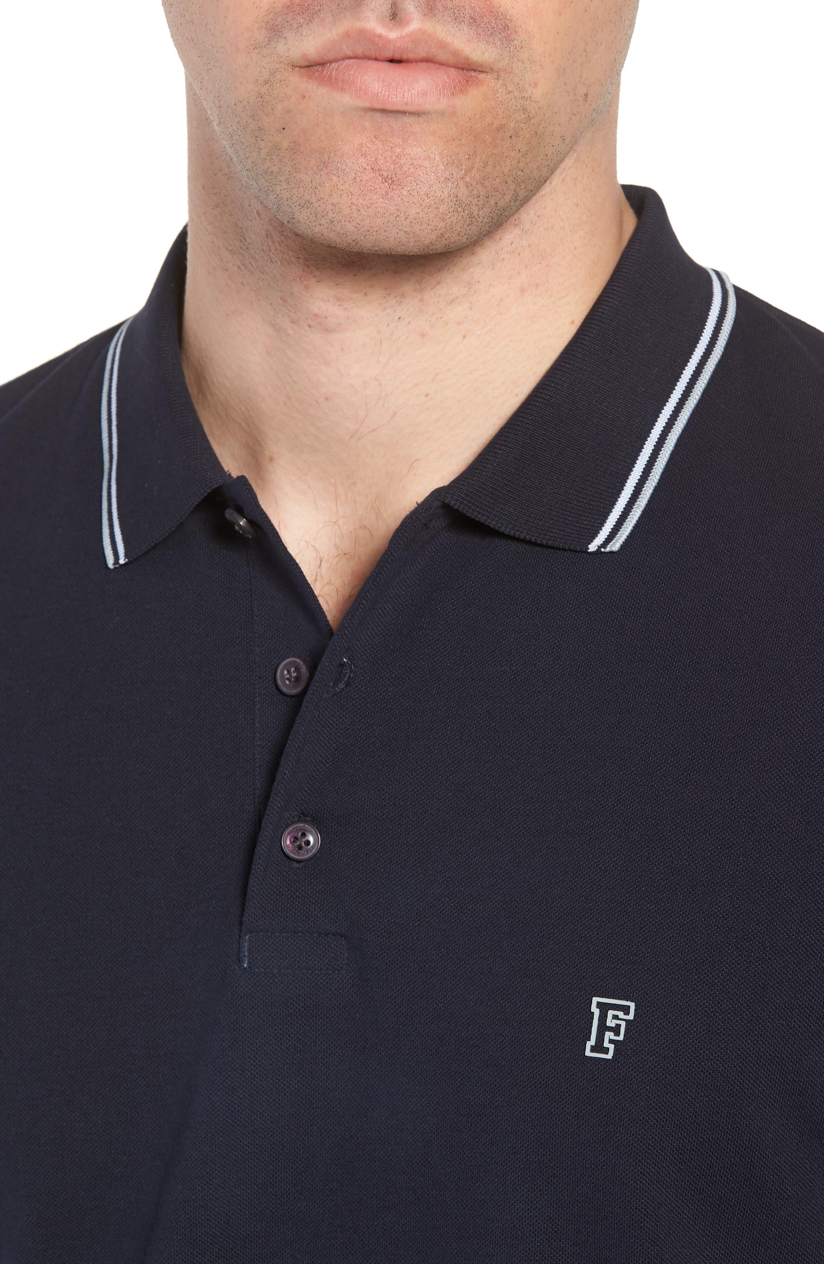 Cotton Polo Shirt,                             Alternate thumbnail 4, color,                             Marine Blue