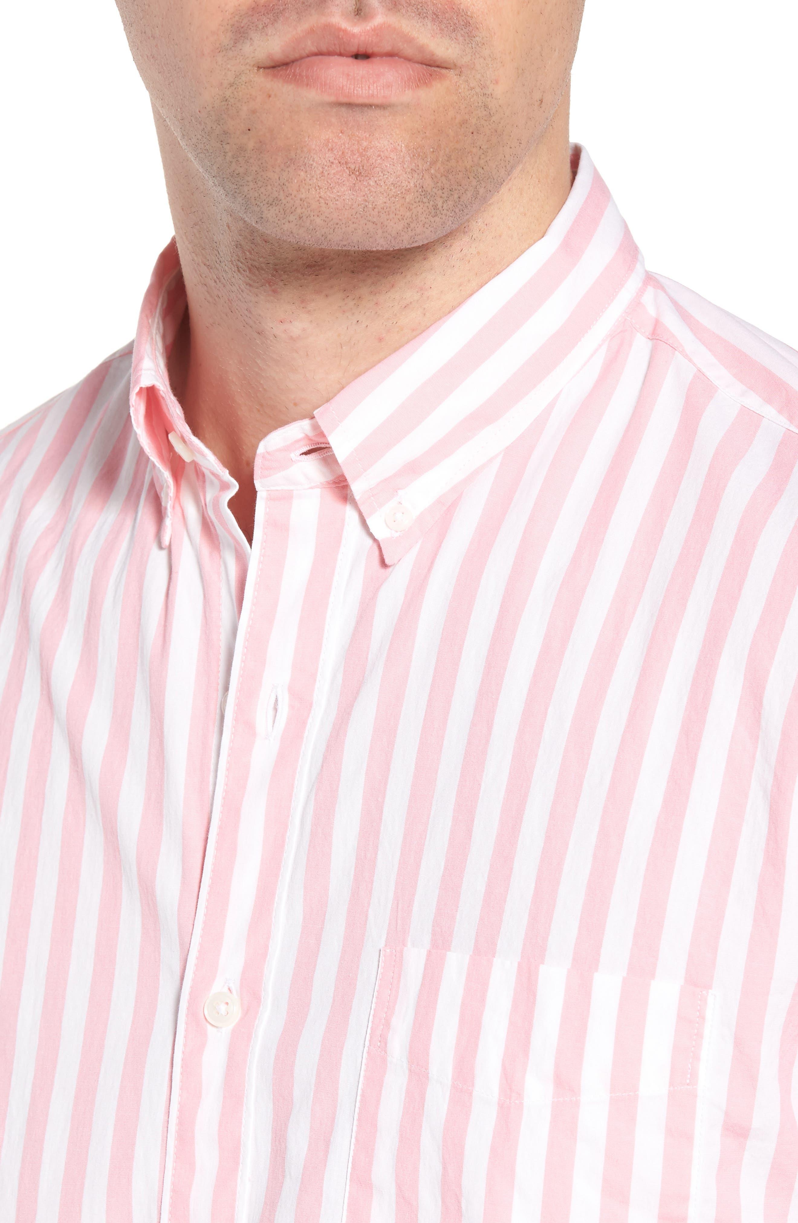 Slim Fit Stretch Secret Wash Stripe Sport Shirt,                             Alternate thumbnail 2, color,                             Azalea