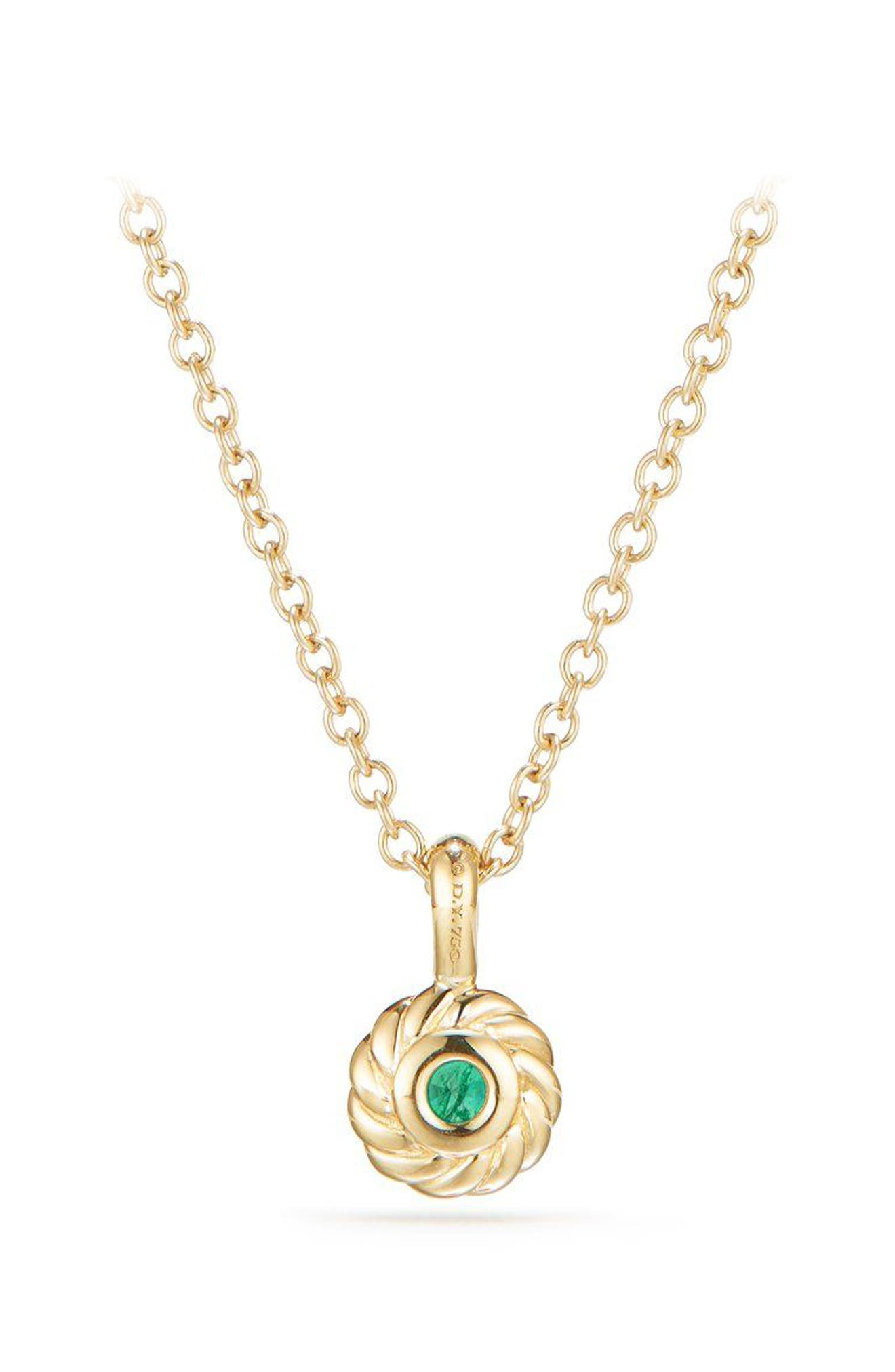 Cable Collectibles<sup>®</sup> Kids' Birthstone Necklace in 18K Gold,                             Alternate thumbnail 3, color,                             Emerald
