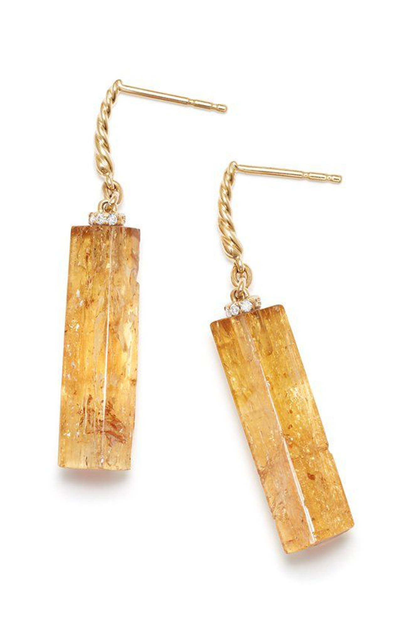 Bijoux Fine Bead and Chain Earrings with Imperial Topaz,                             Alternate thumbnail 2, color,                             Gold/ Imperial Topaz
