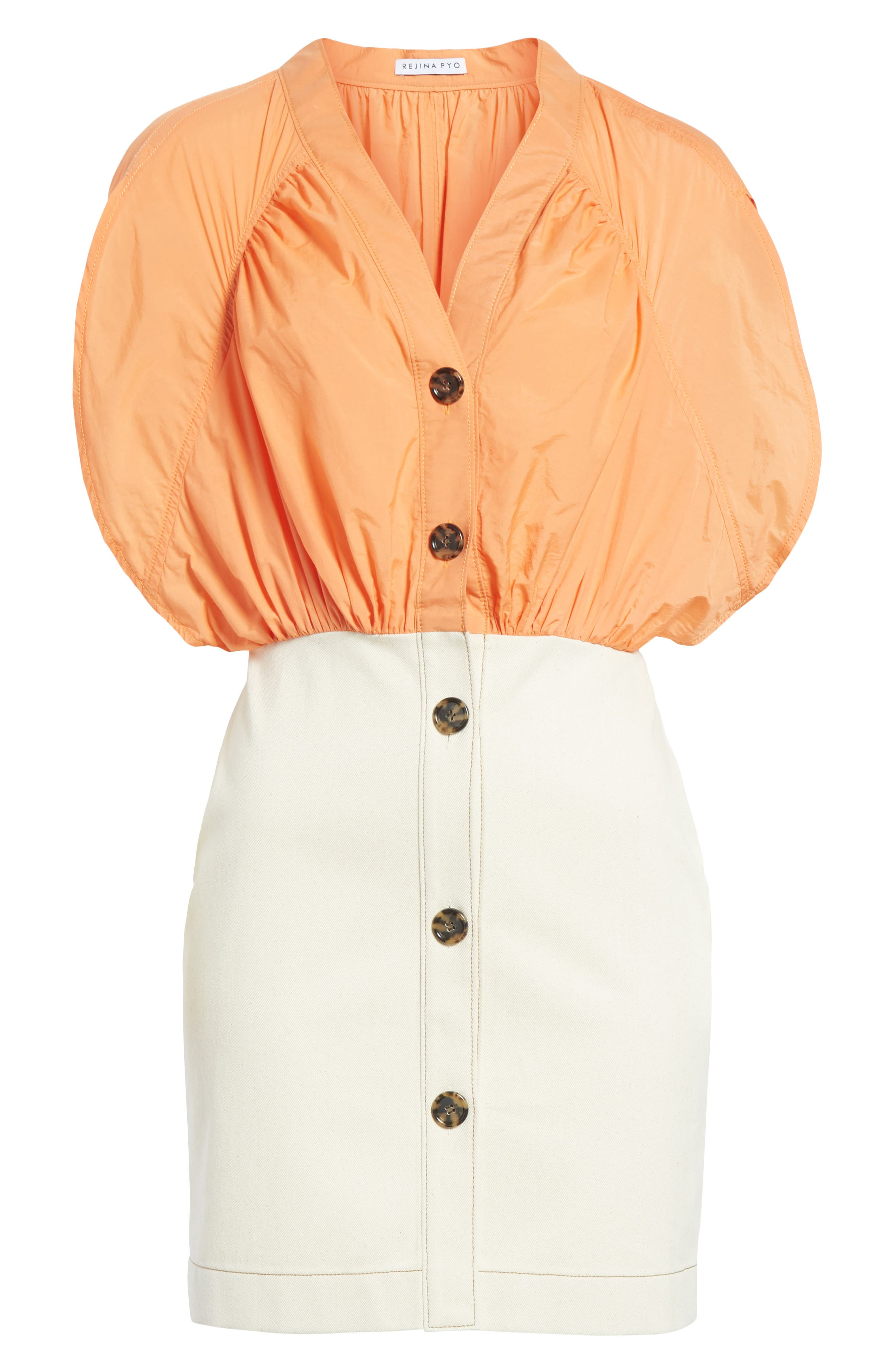 Yana Bicolor Dress,                             Alternate thumbnail 6, color,                             Cotton Orange/ Denim Ecru