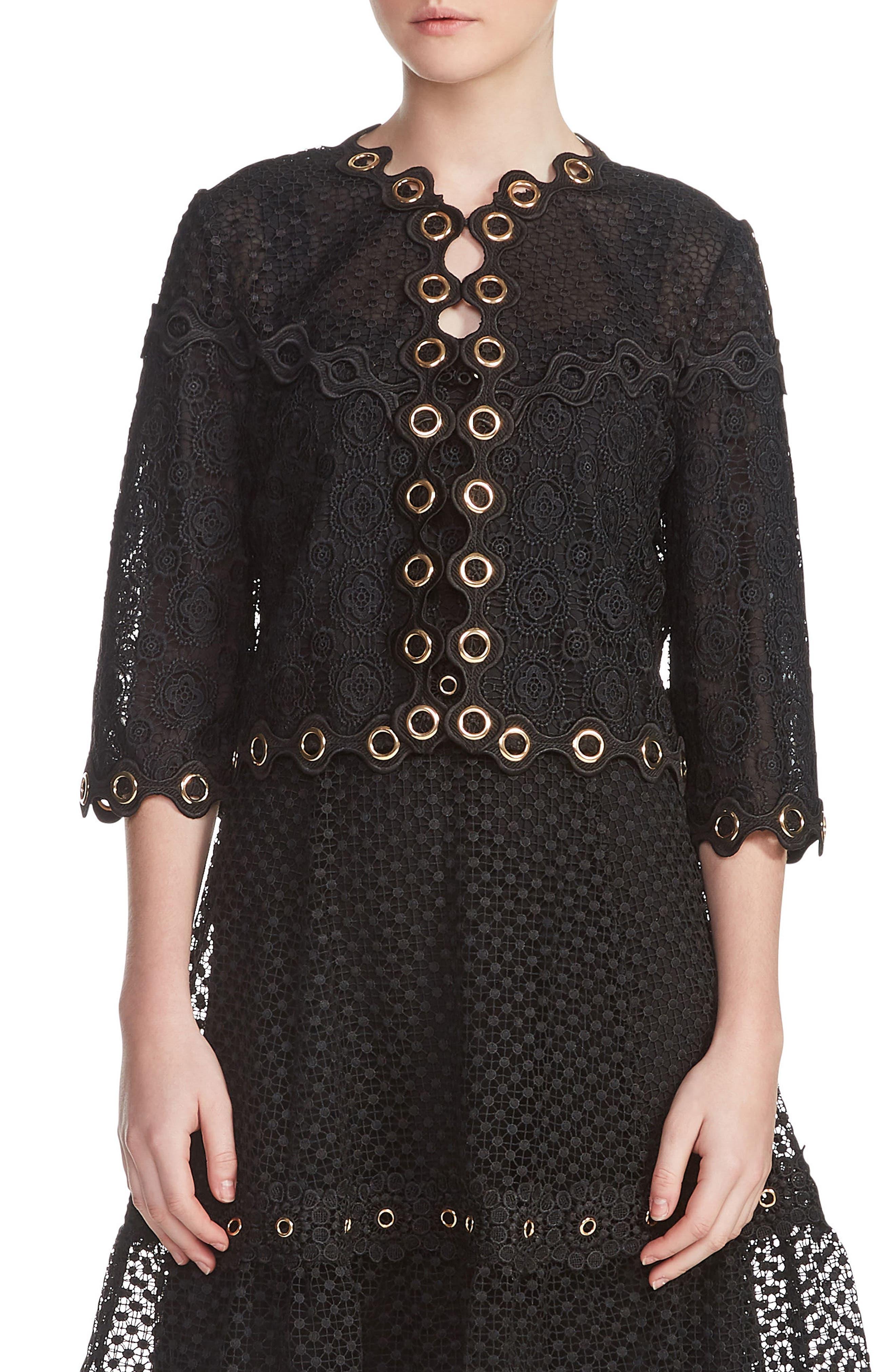 Grommet Trim Lace Jacket,                         Main,                         color, Black