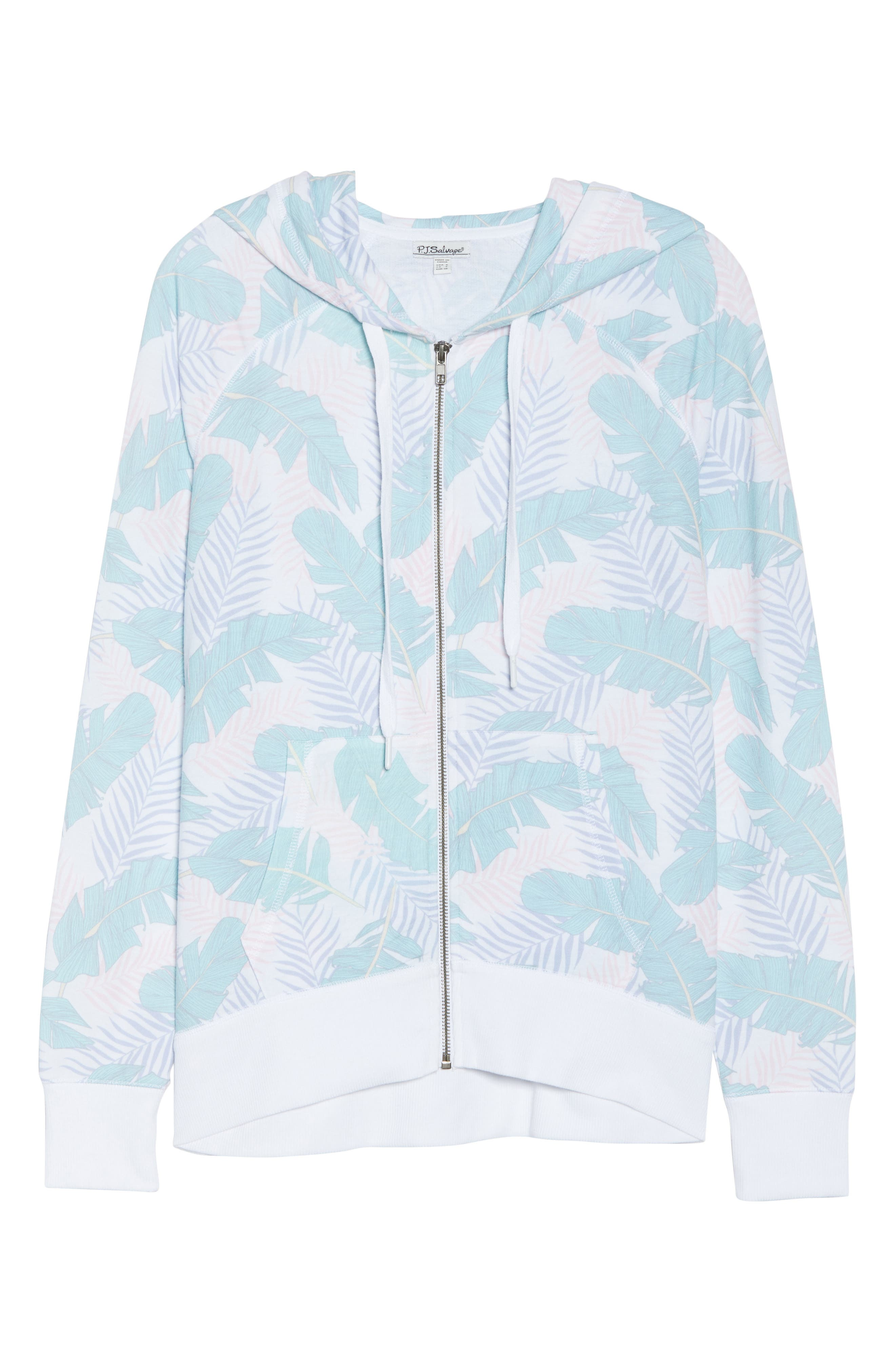 Leaf Print Zip Hoodie,                             Alternate thumbnail 4, color,                             White