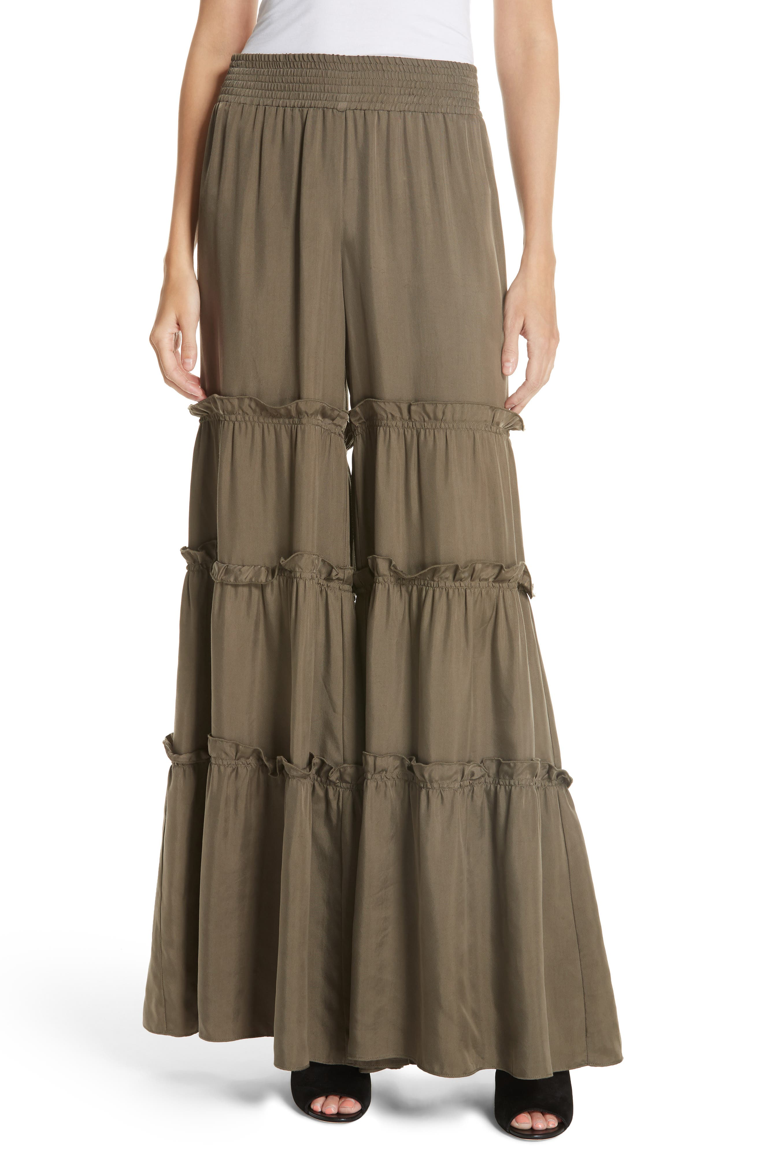 Avery Ruffle Tier Pants,                         Main,                         color, Olive