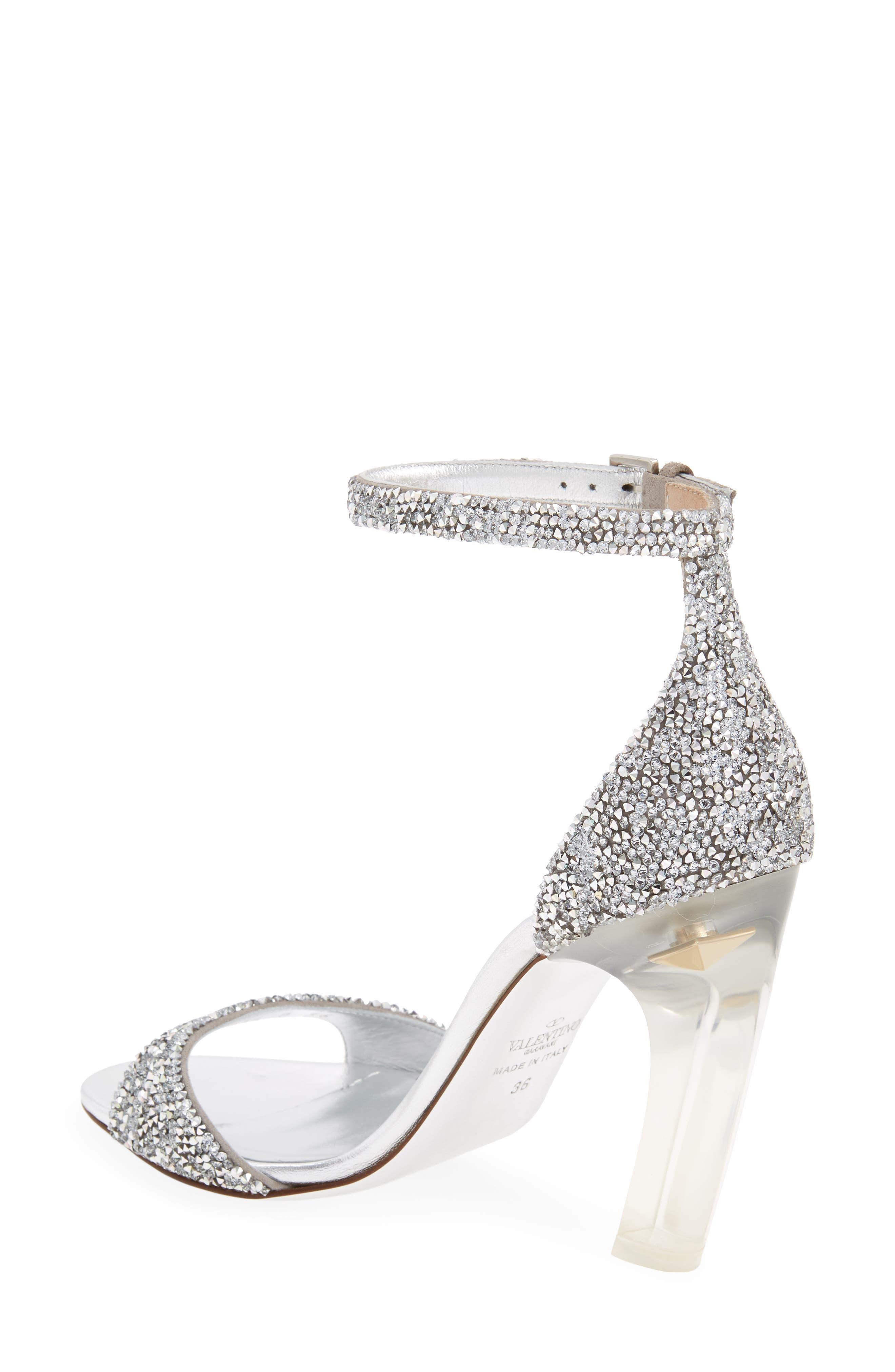 GARAVANI Crystal Embellished Clear Heel Sandal,                             Alternate thumbnail 2, color,                             Silver