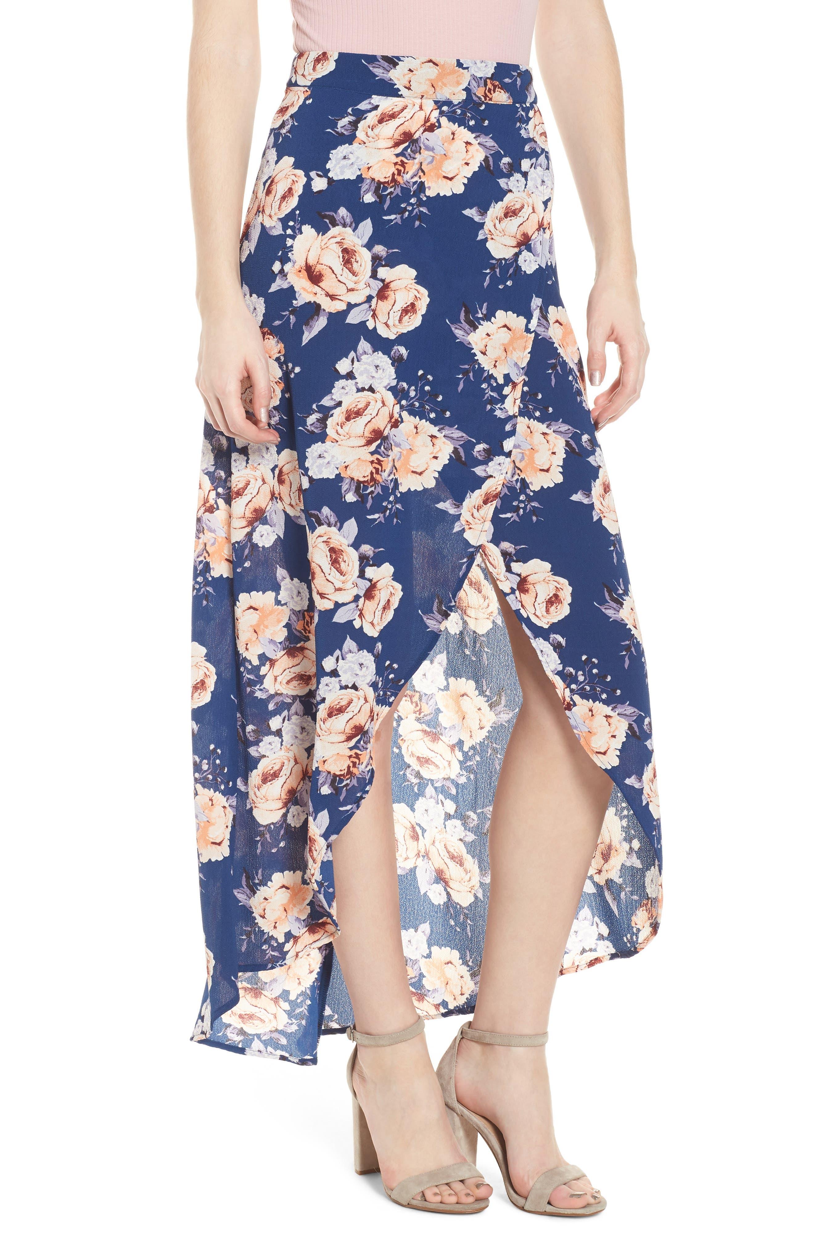 Floral Print Maxi Skirt,                             Main thumbnail 1, color,                             Blue Floral