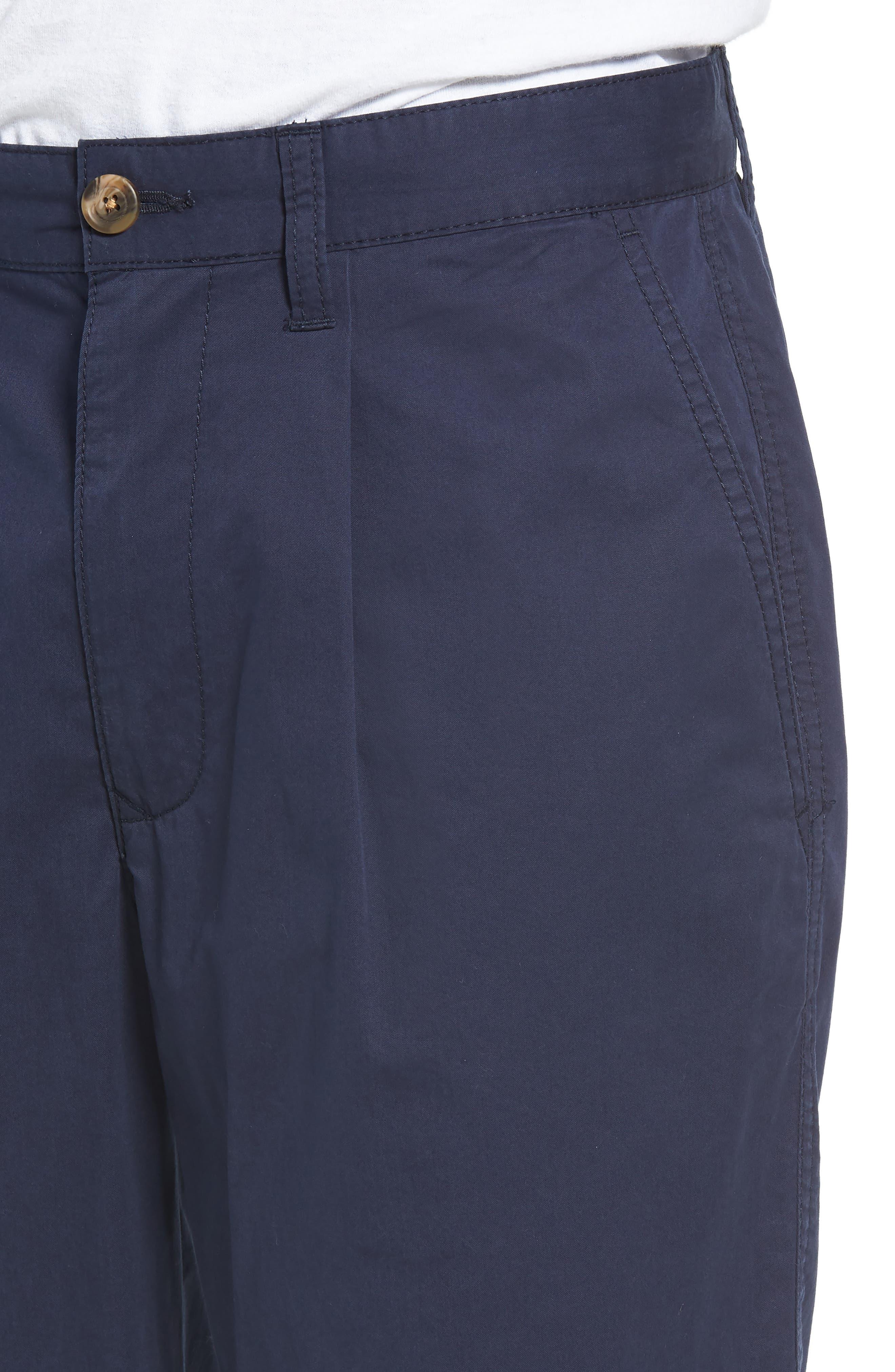 Pleated Chino Shorts,                             Alternate thumbnail 4, color,                             Navy Peacoat