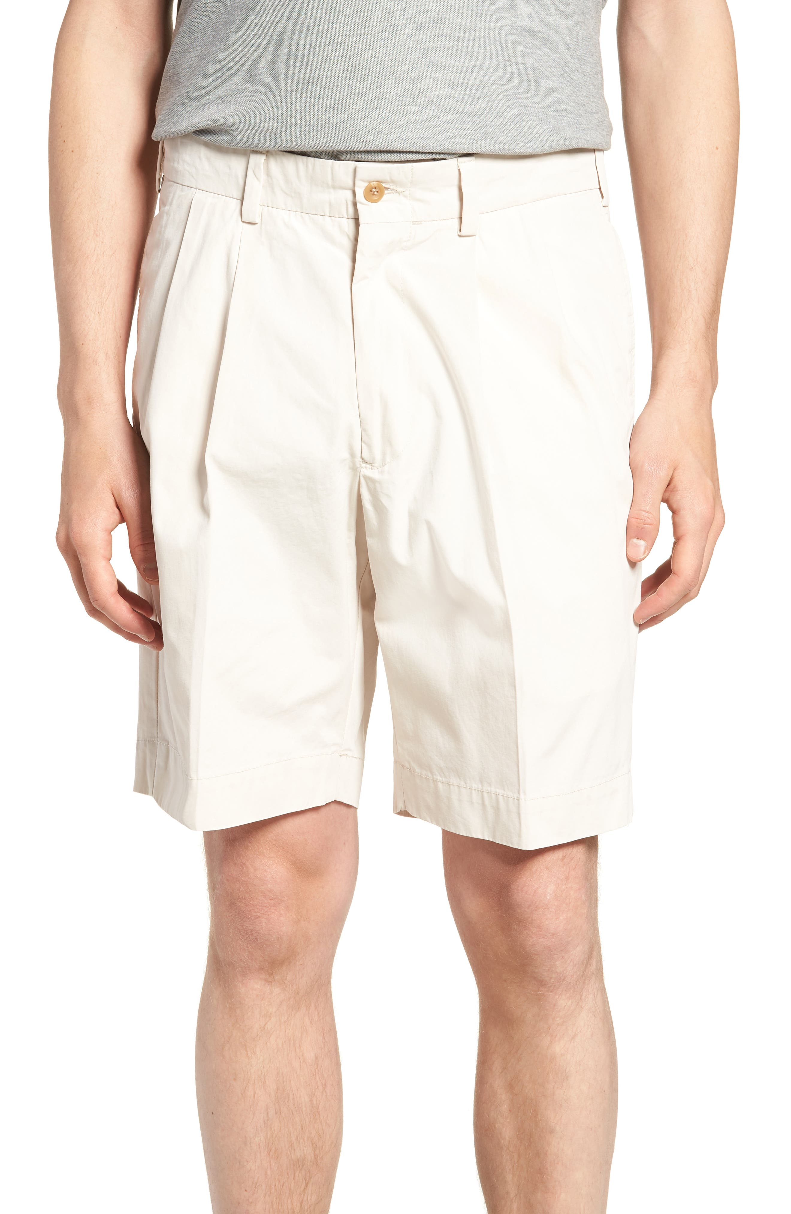 M2 Classic Fit Pleated Tropical Cotton Poplin Shorts,                         Main,                         color, Sand