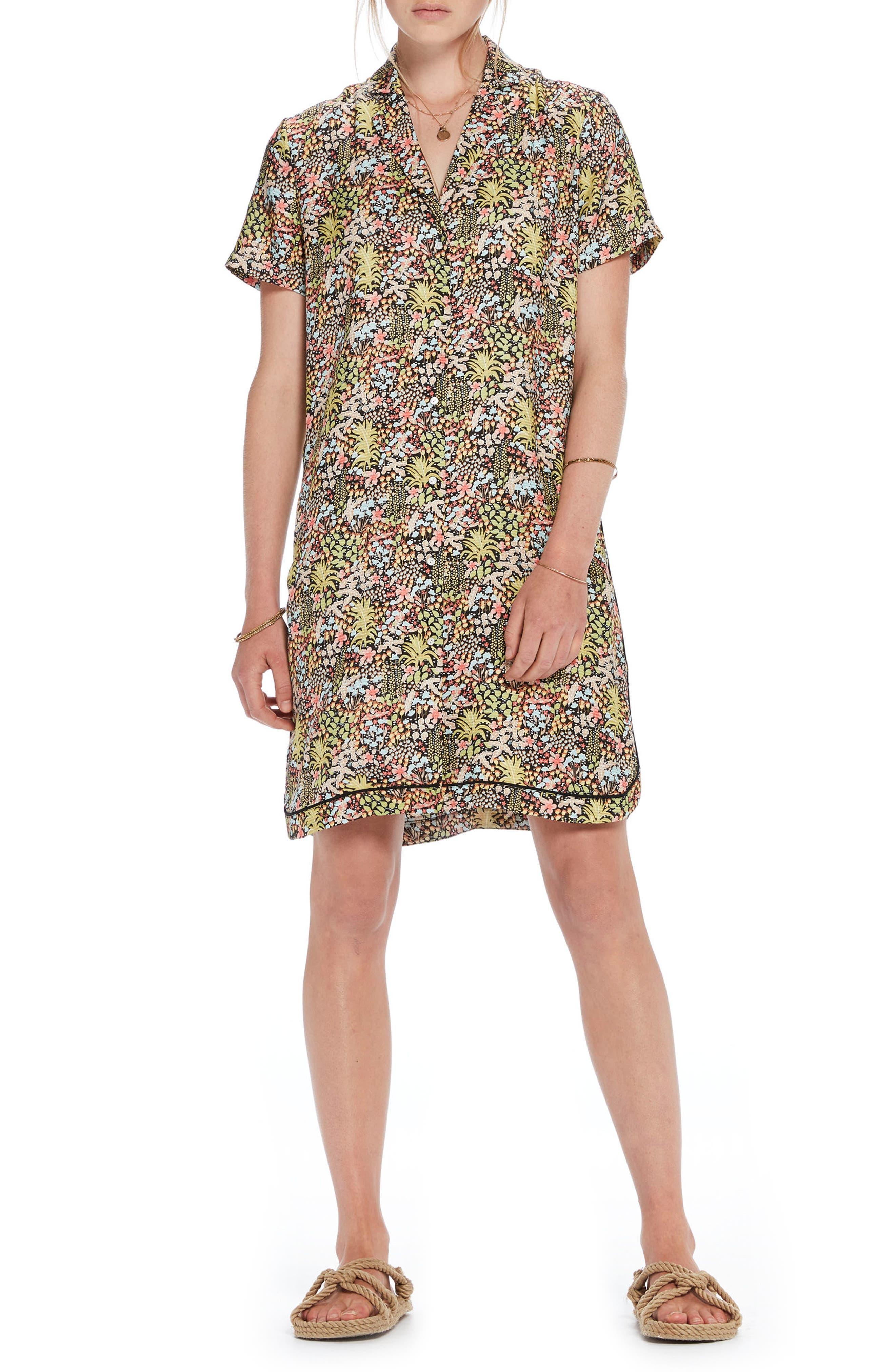 Tropical Print Shirtdress,                         Main,                         color, Color 17 Combo A