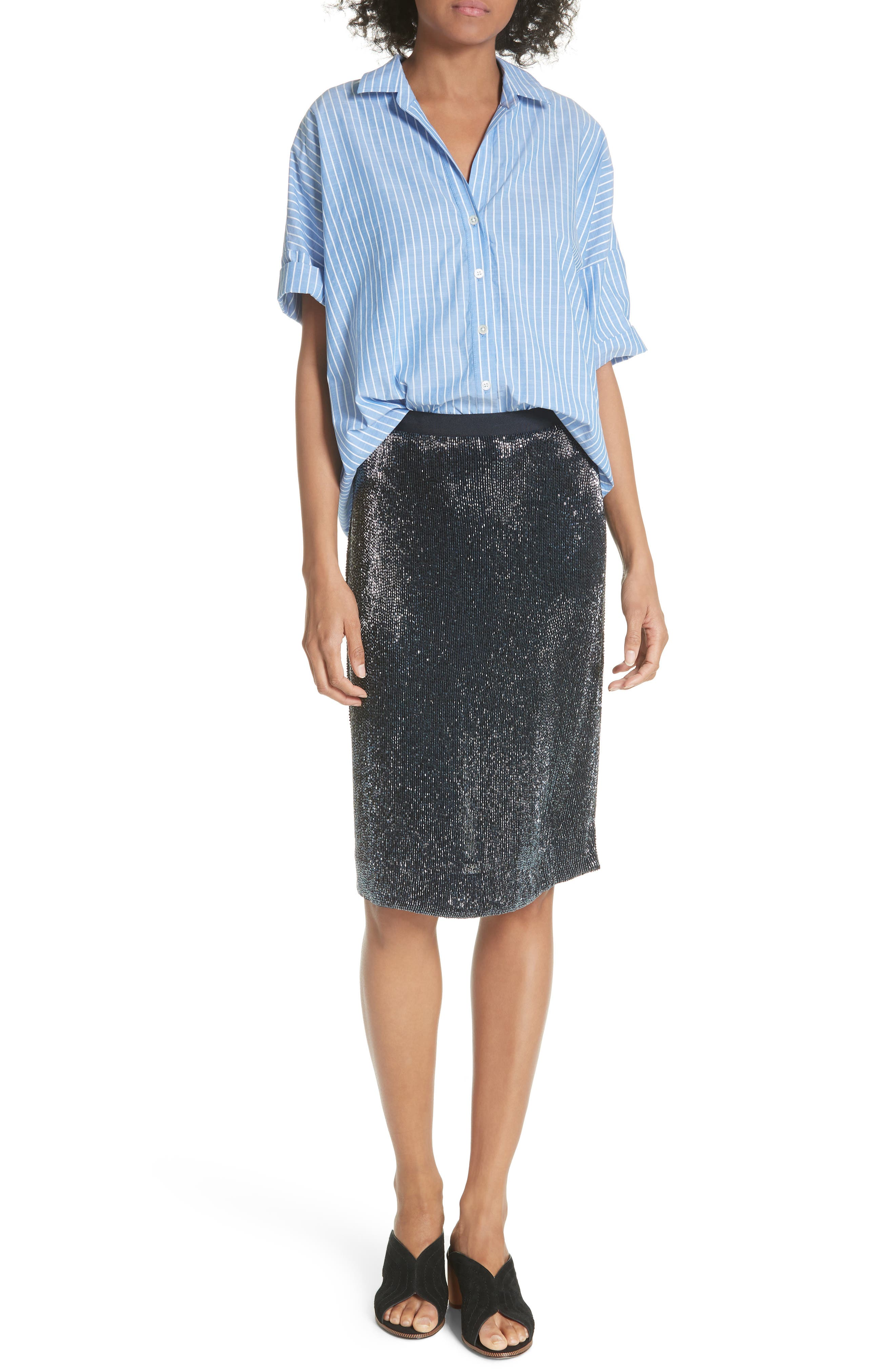Edryce Beaded Pencil Skirt,                             Alternate thumbnail 6, color,                             Dark Navy