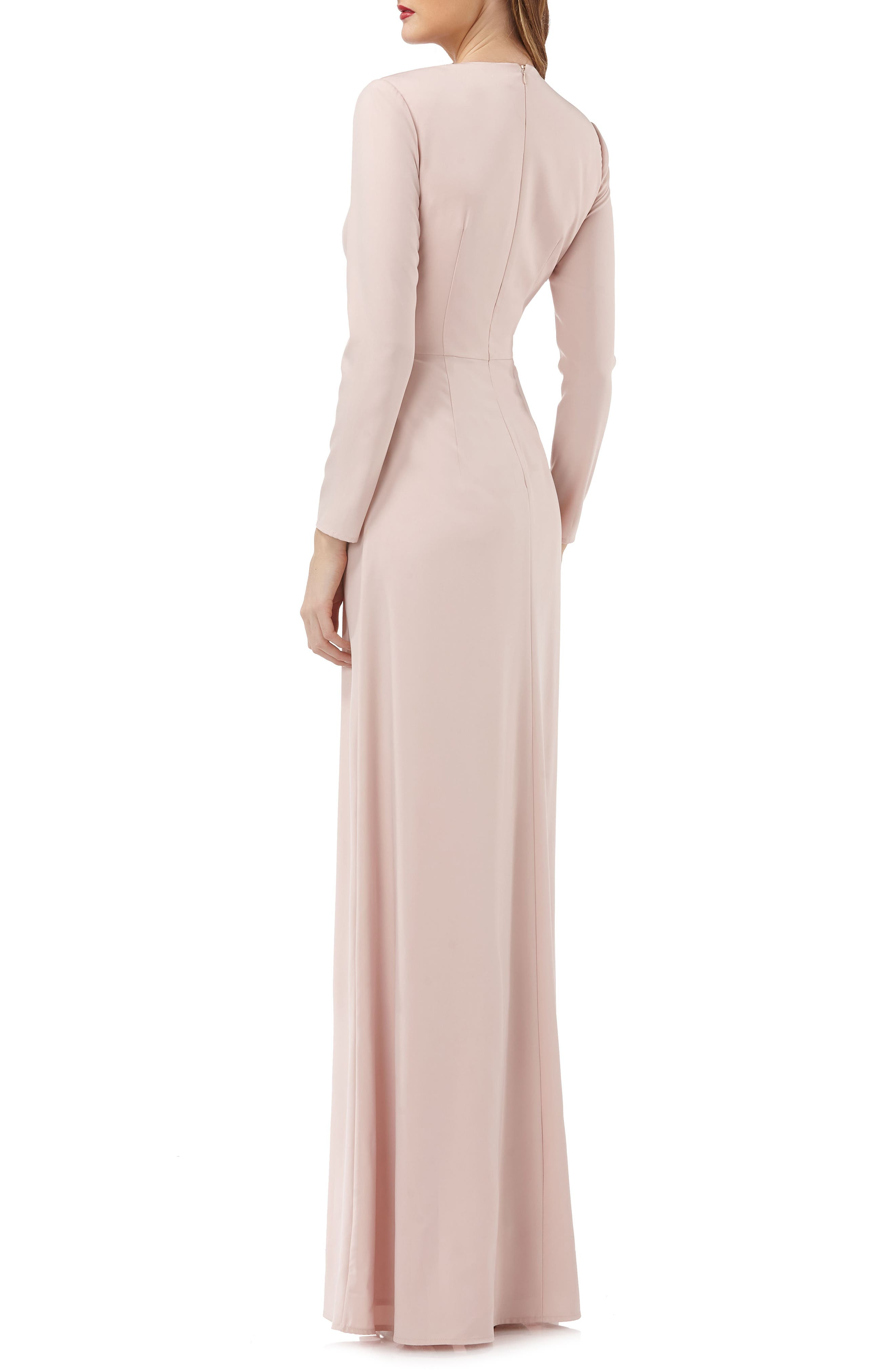 Long Sleeve Stretch Crepe Gown,                             Alternate thumbnail 2, color,                             Blush