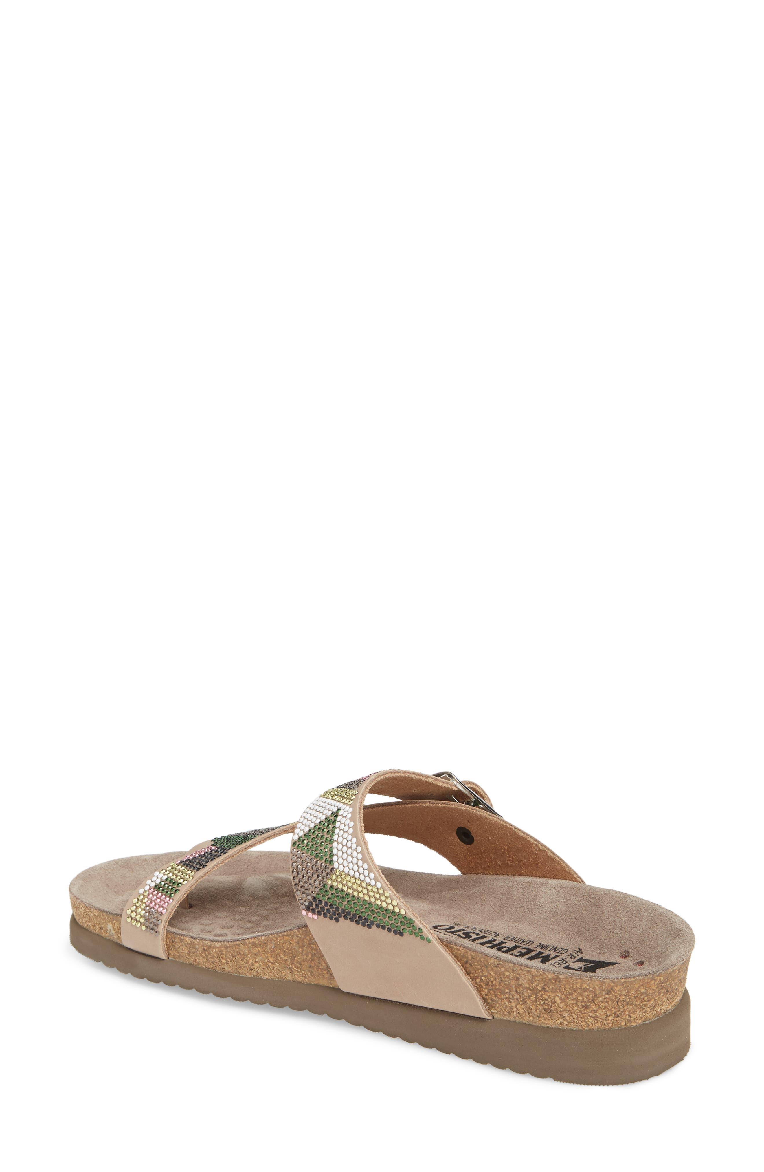 Helen Slide Sandal,                             Alternate thumbnail 2, color,                             Taupe/ Green/ Pink