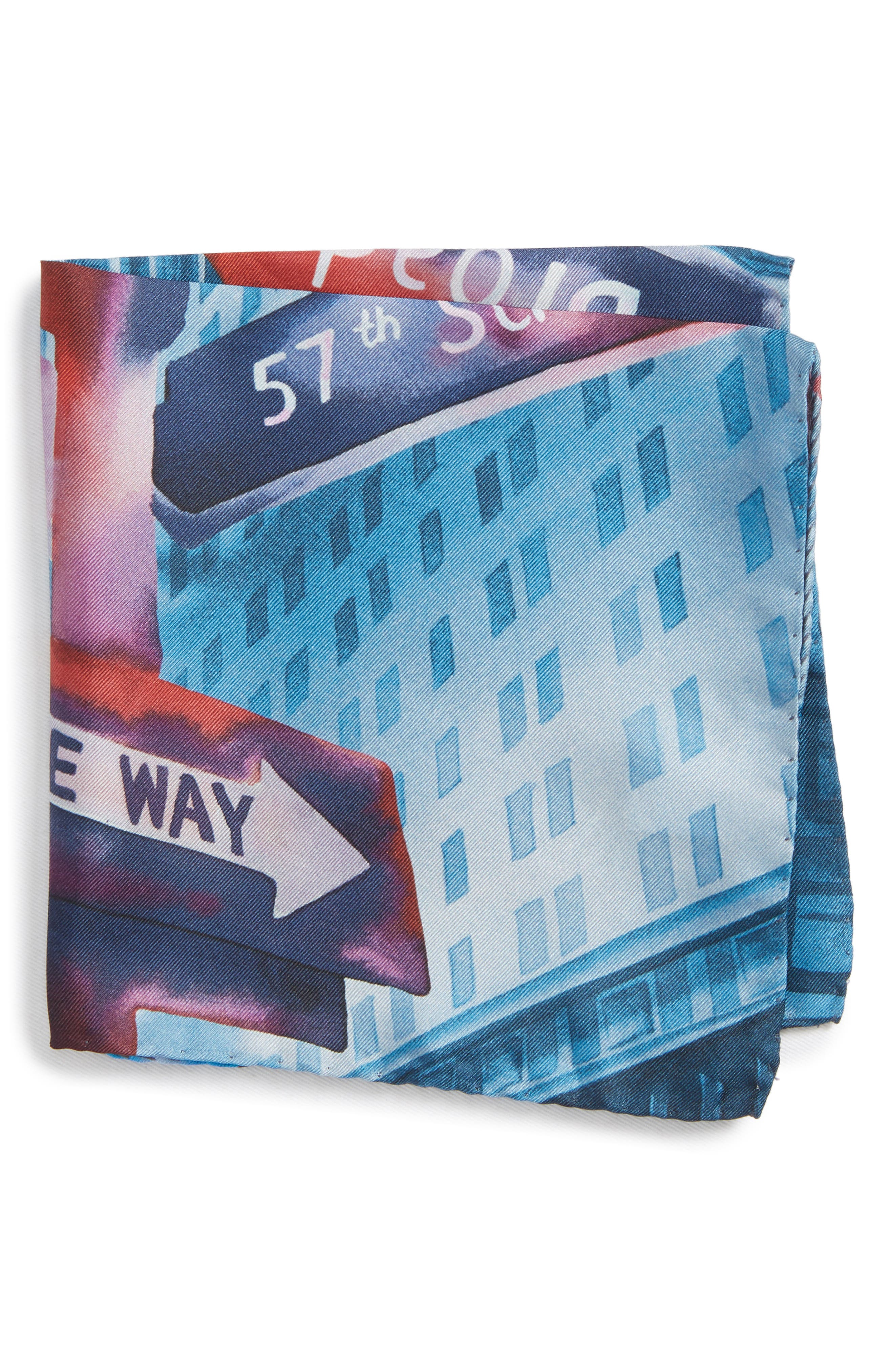 New York Store Silk Pocket Square,                         Main,                         color, Blue