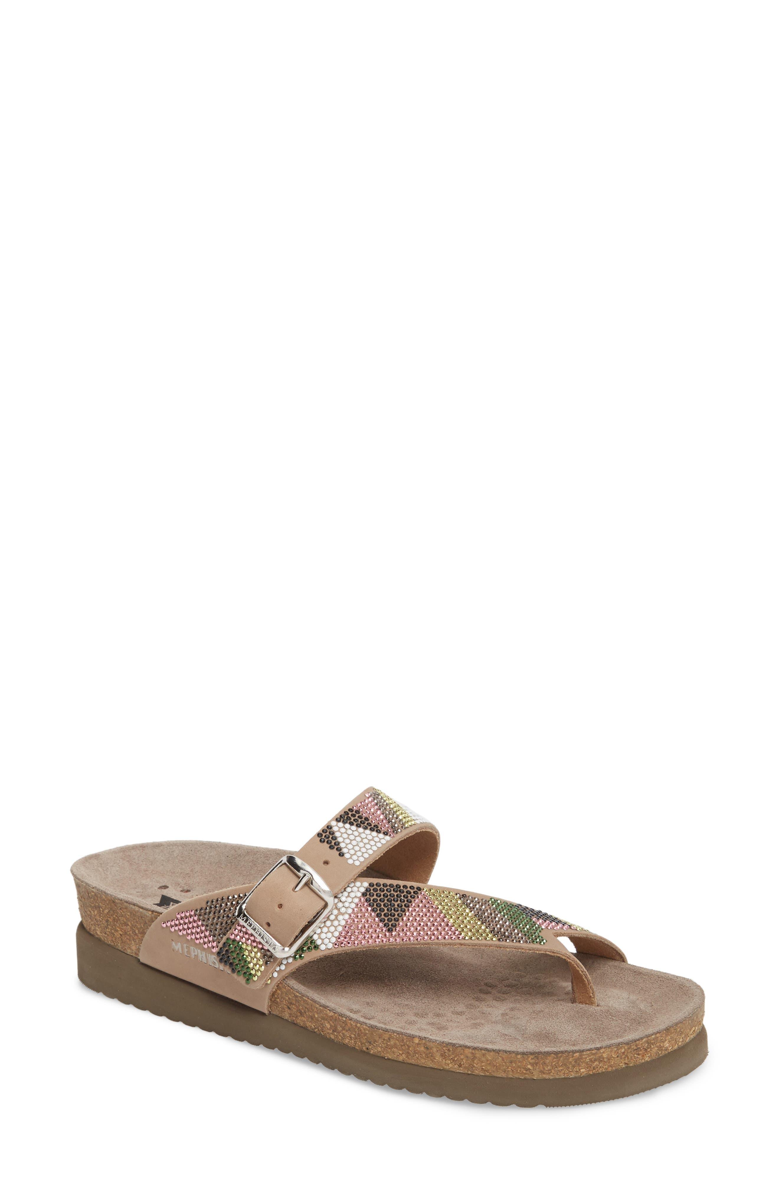 Helen Slide Sandal,                             Main thumbnail 1, color,                             Taupe/ Green/ Pink