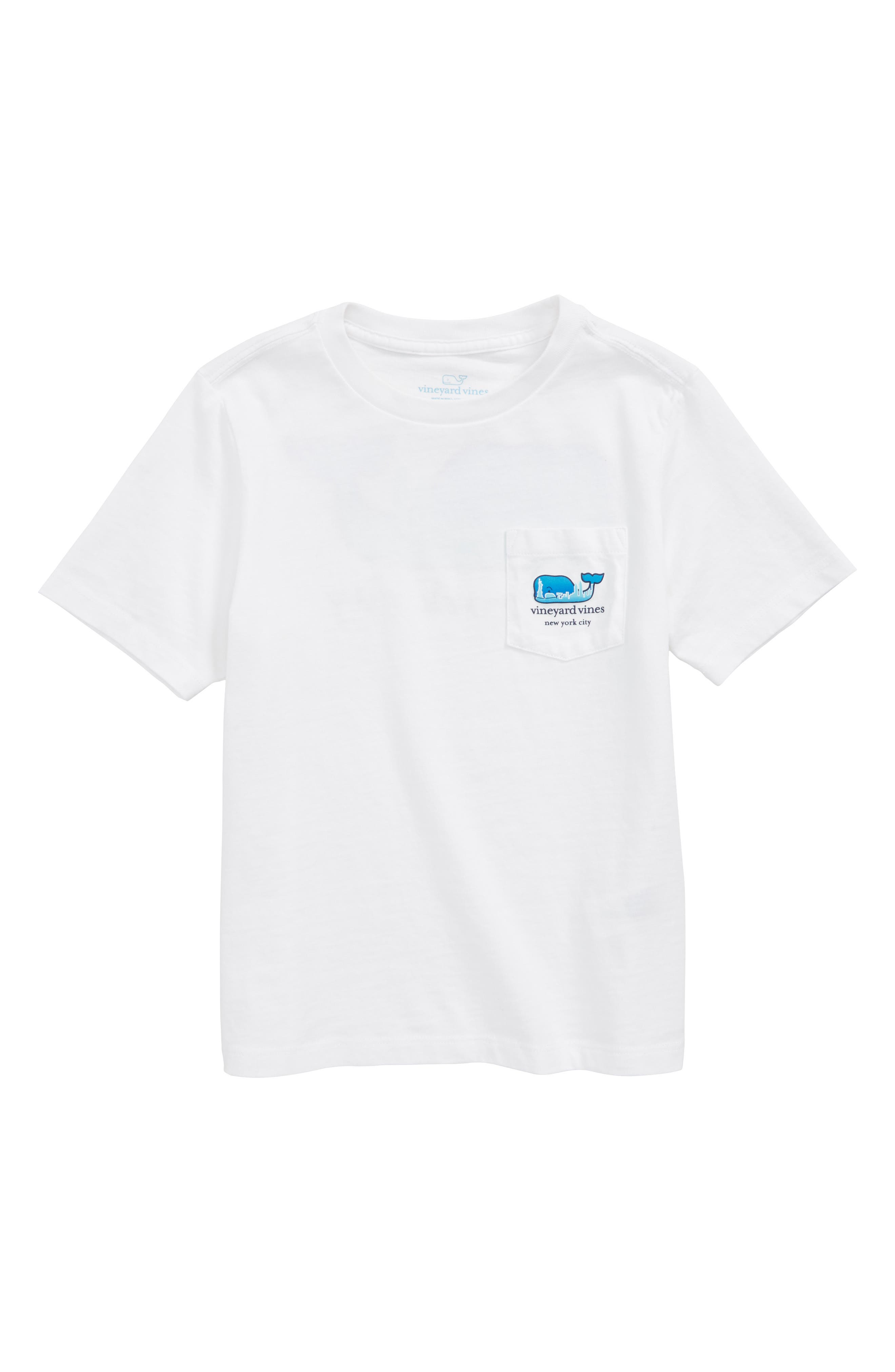 New York City Whale Pocket T-Shirt,                             Main thumbnail 1, color,                             White Cap