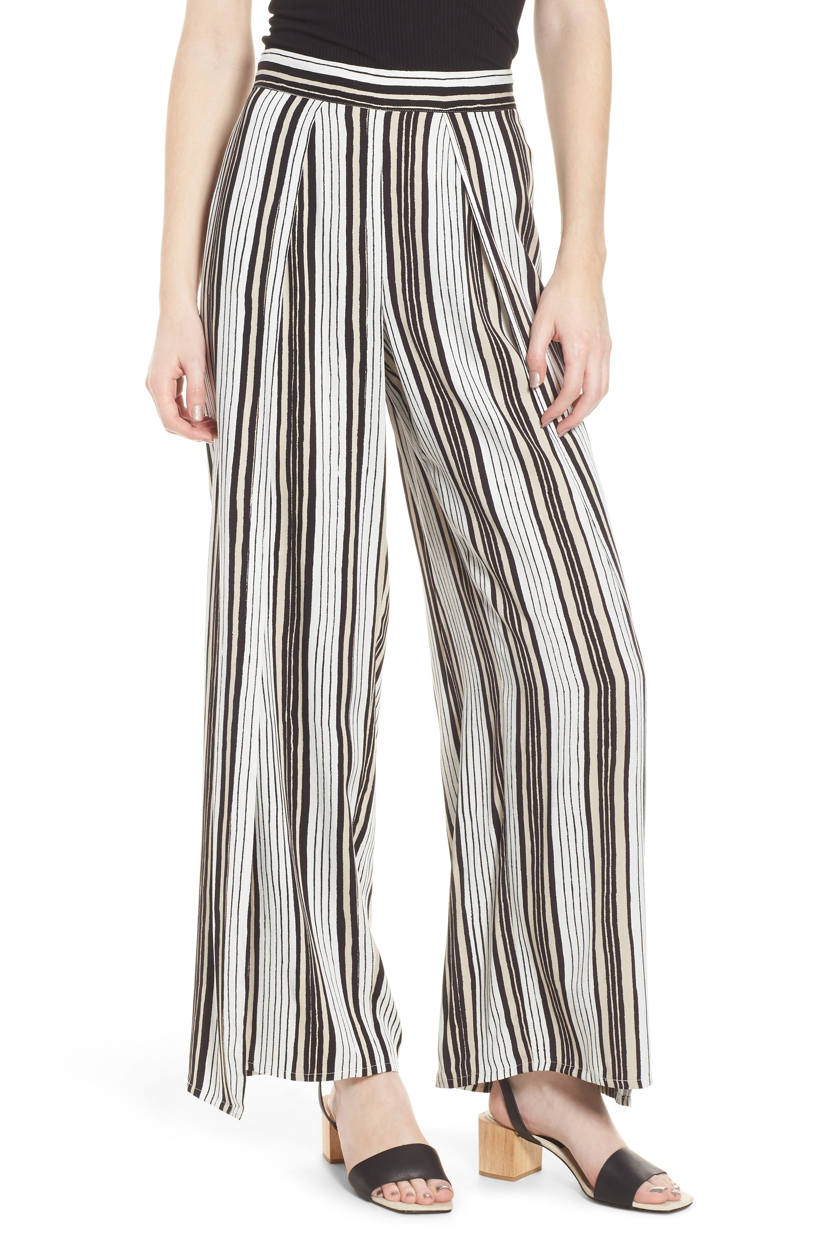 Avah Stripe Pants,                         Main,                         color, Ivory
