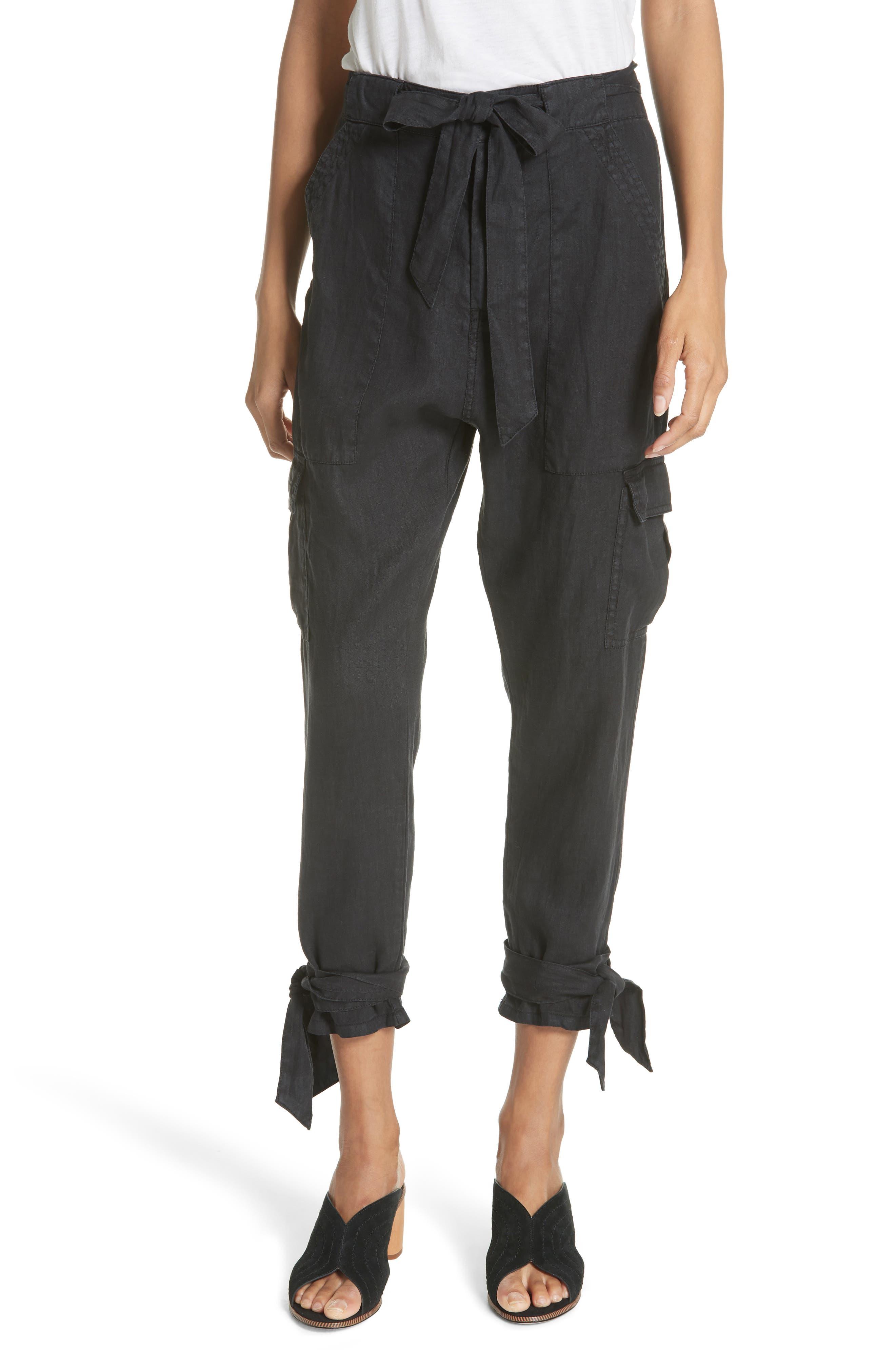 Erlette Linen Tie Cuff Crop Pants,                         Main,                         color, Caviar