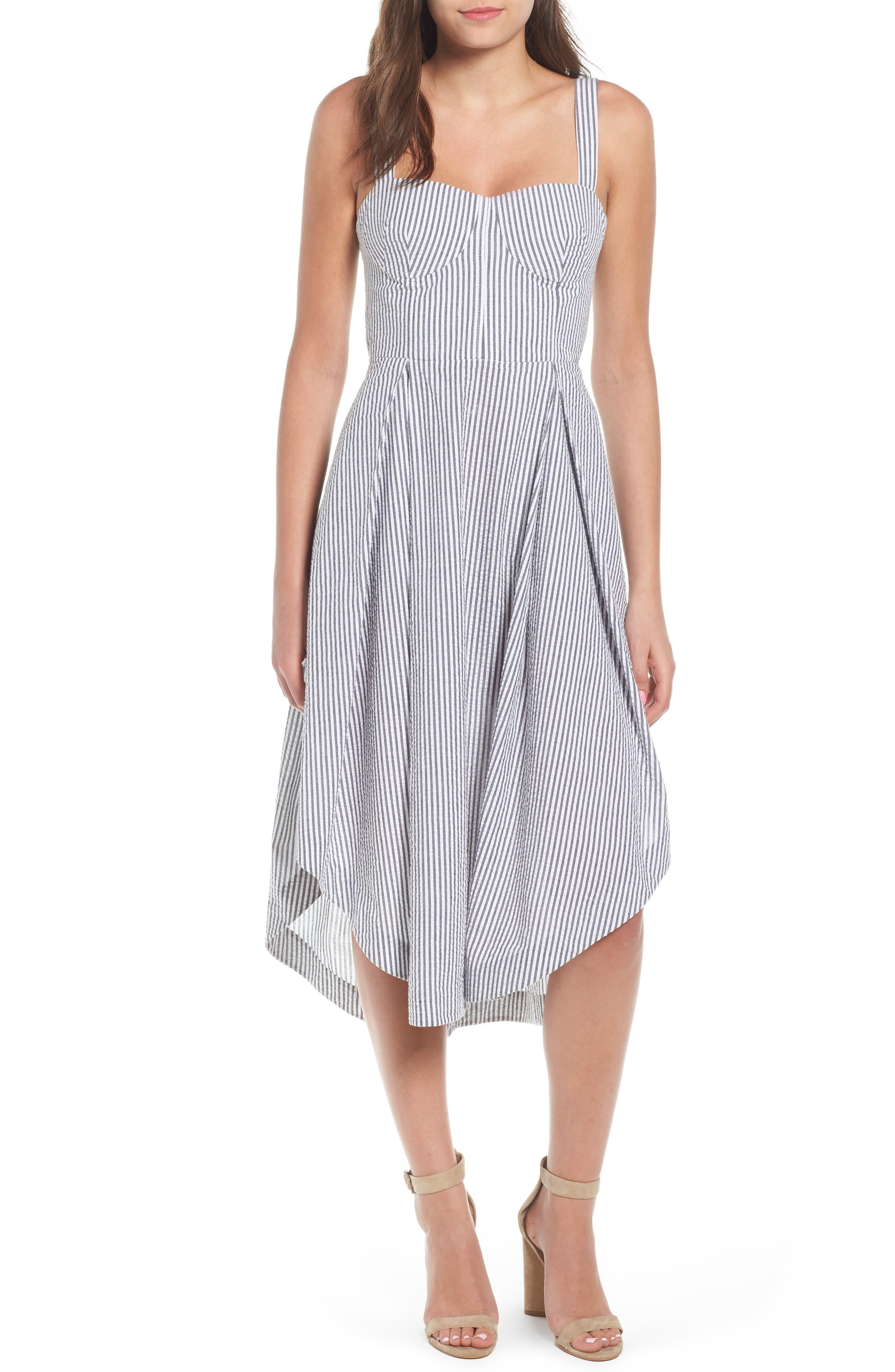 Seersucker Bustier Midi Dress,                             Main thumbnail 1, color,                             Black/ White Multi